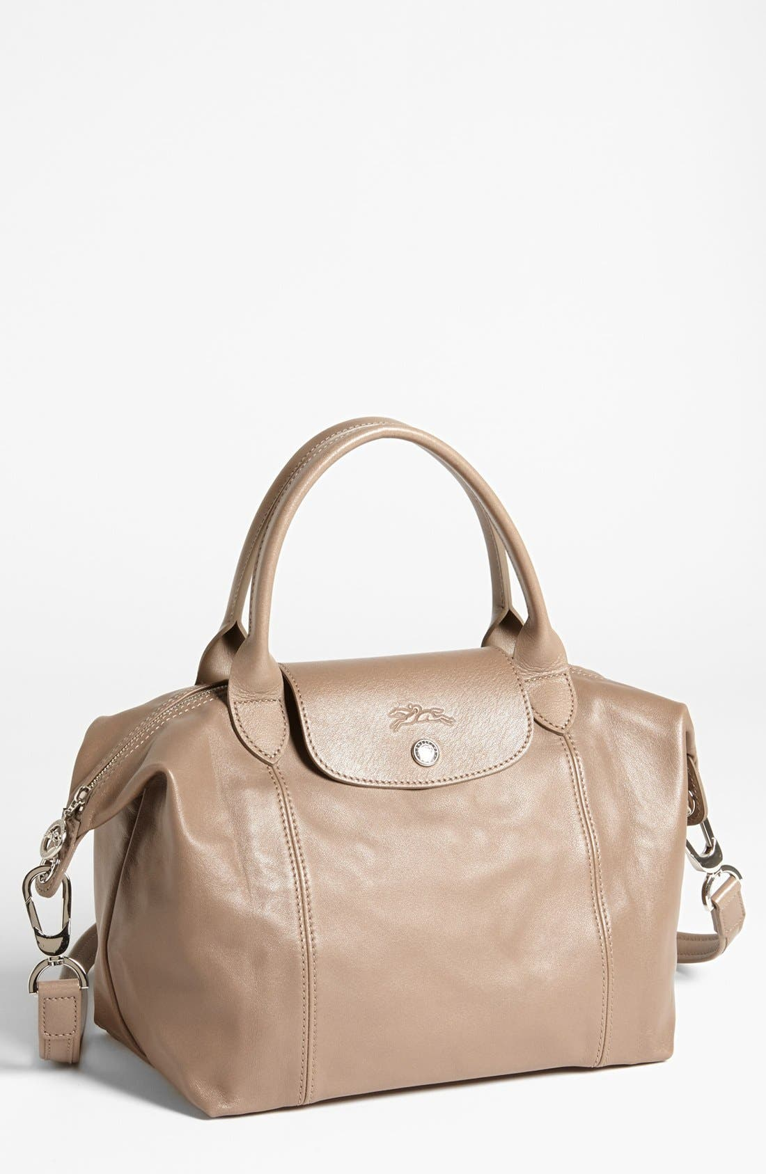 Small 'Le Pliage Cuir' Leather Top Handle Tote,                             Main thumbnail 9, color,
