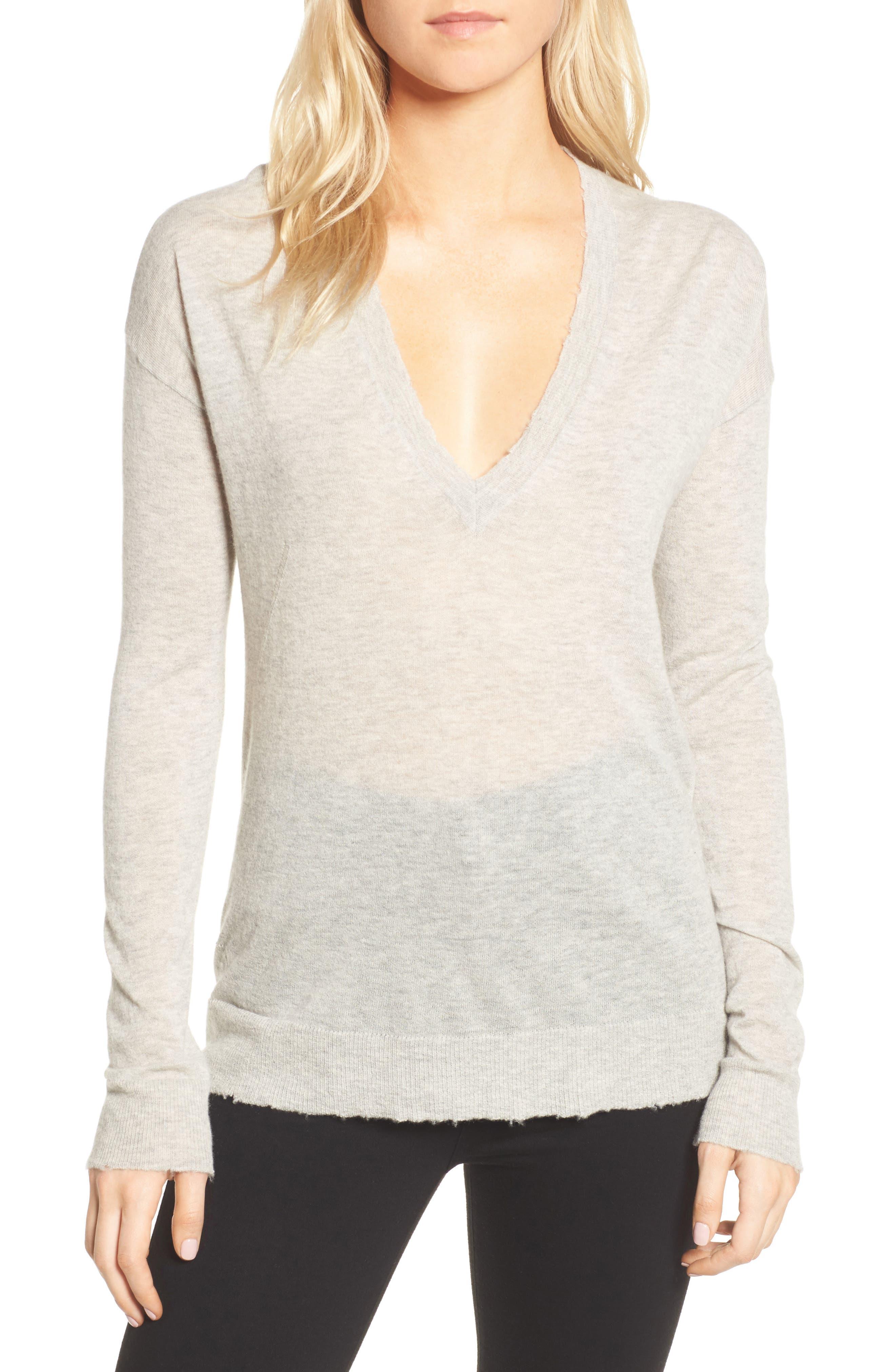 V-Neck Cashmere Sweater,                             Main thumbnail 1, color,                             254