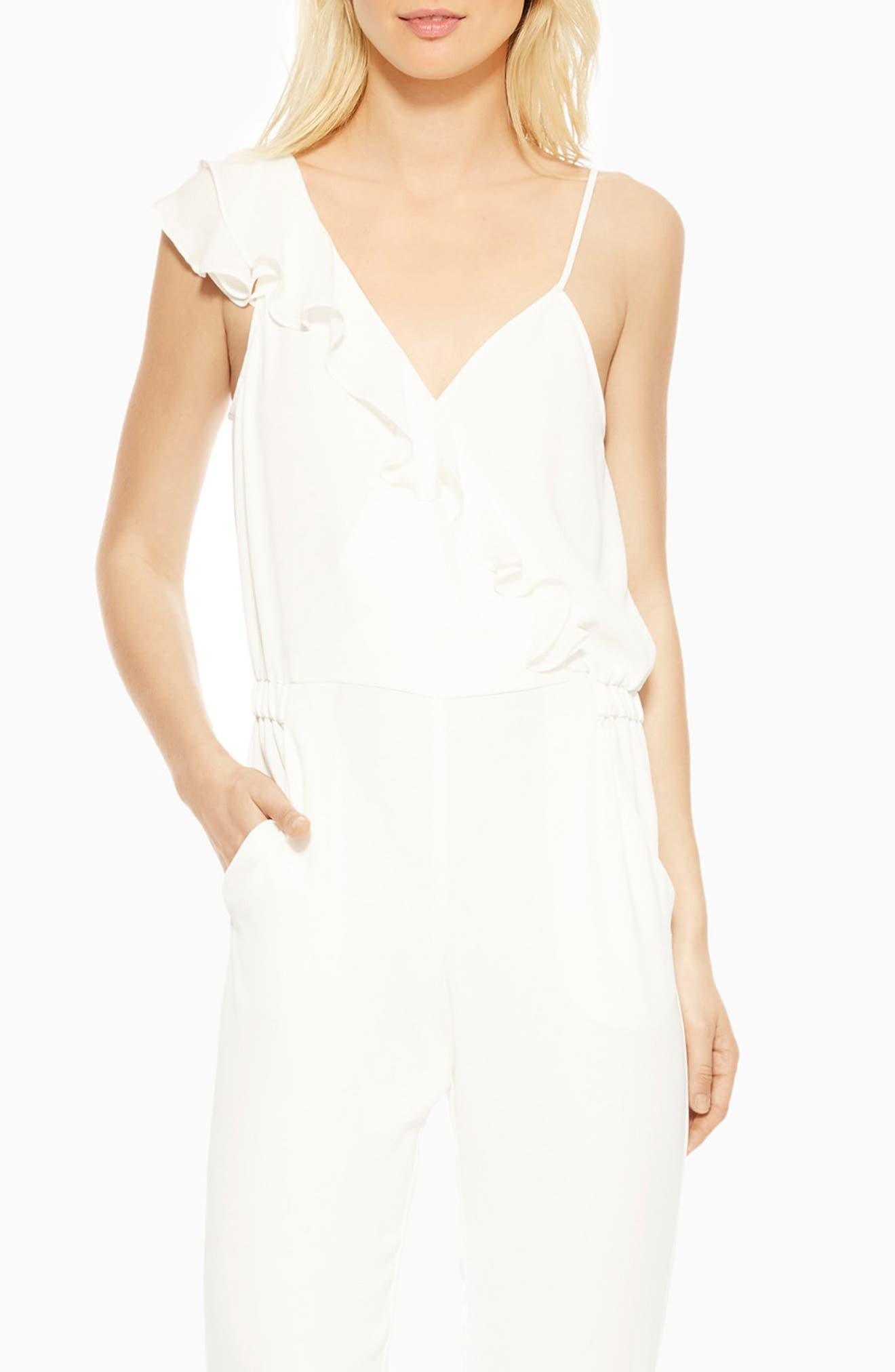 Addison Ruffle Jumpsuit,                             Alternate thumbnail 3, color,                             PEARL