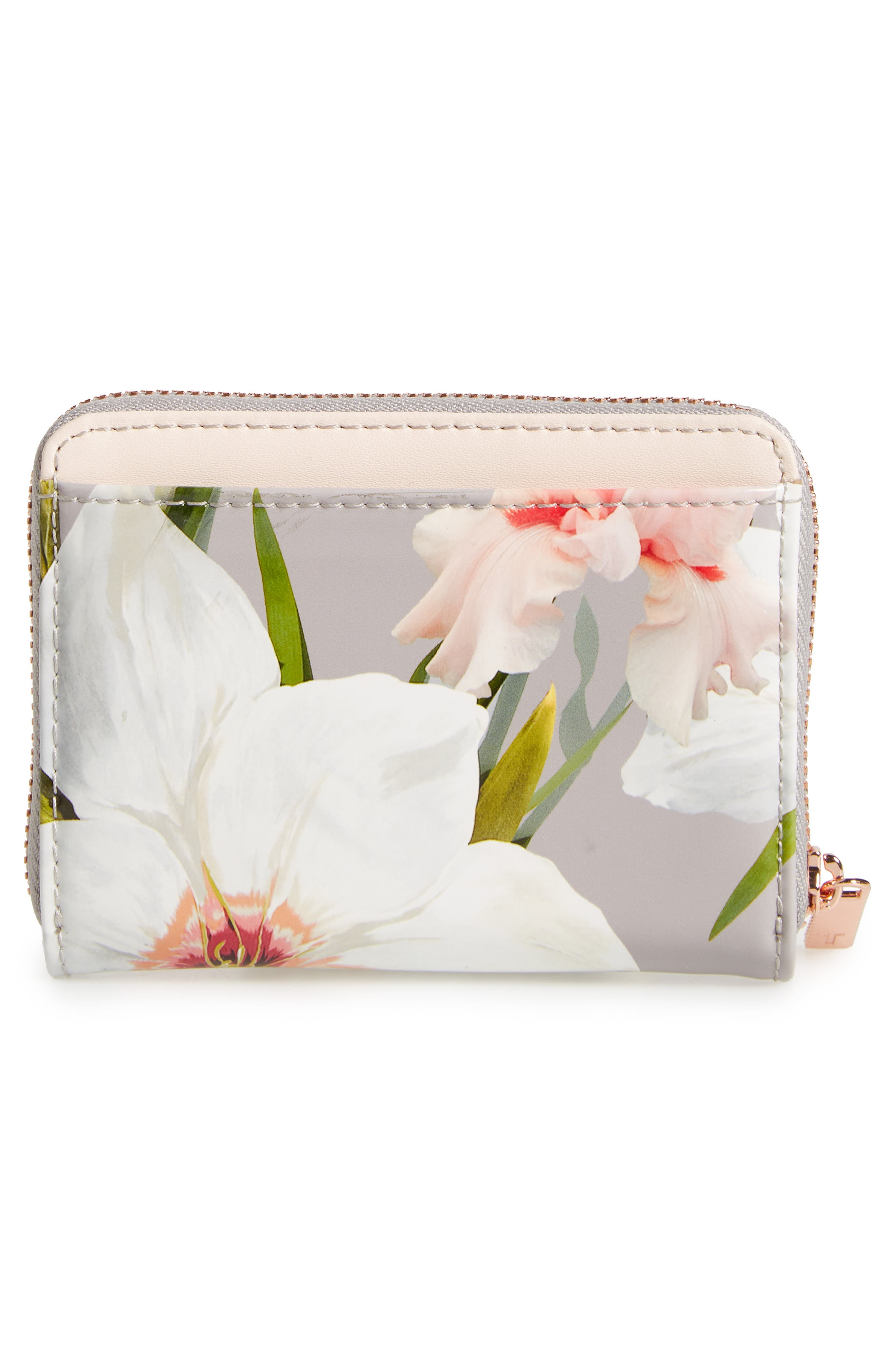 Vallie Chatsworth Bloom Leather Zip Coin Purse,                             Alternate thumbnail 4, color,                             020