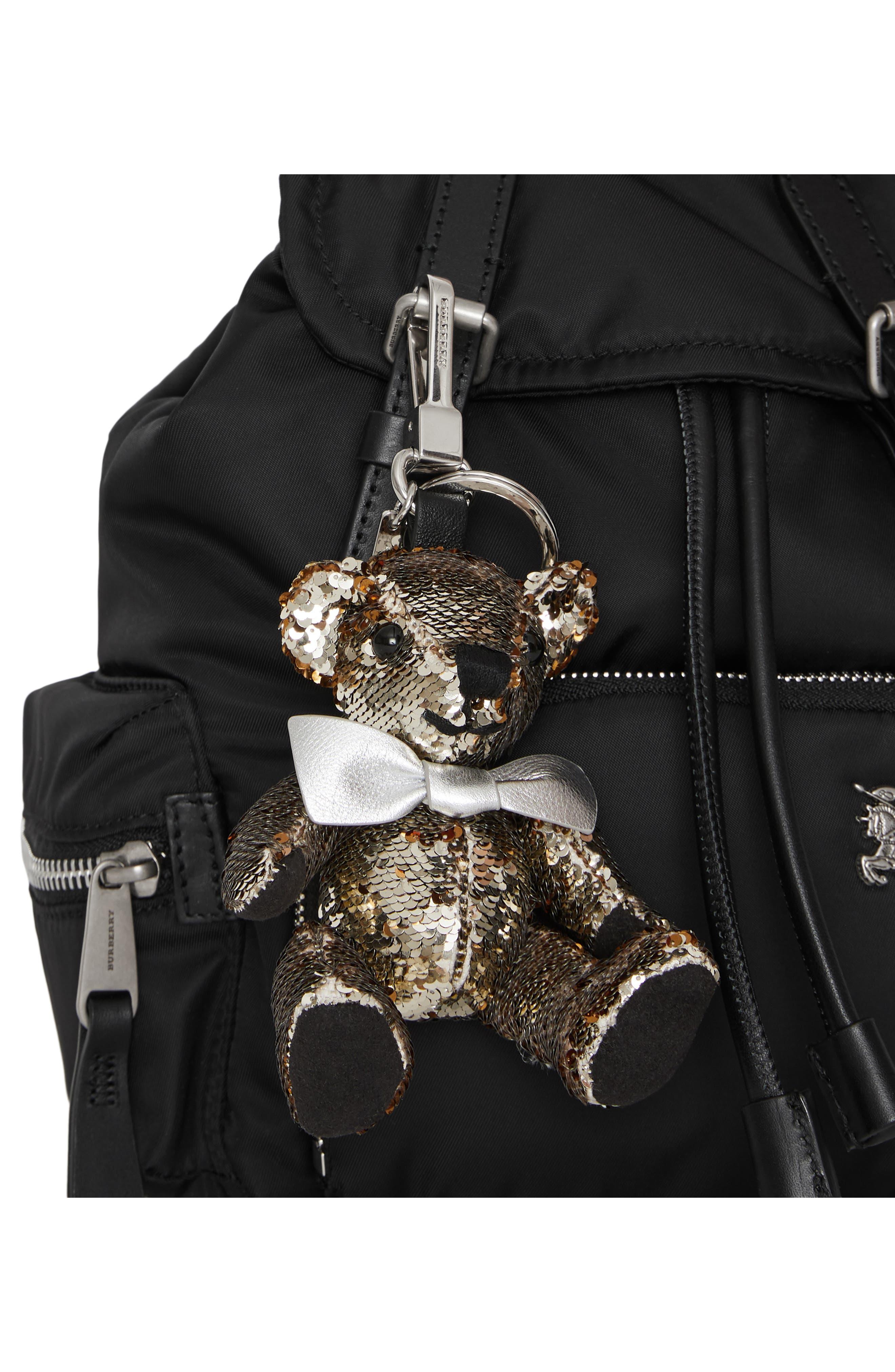 Thomas Bear Sequin Bag Charm,                             Alternate thumbnail 4, color,                             SILVER