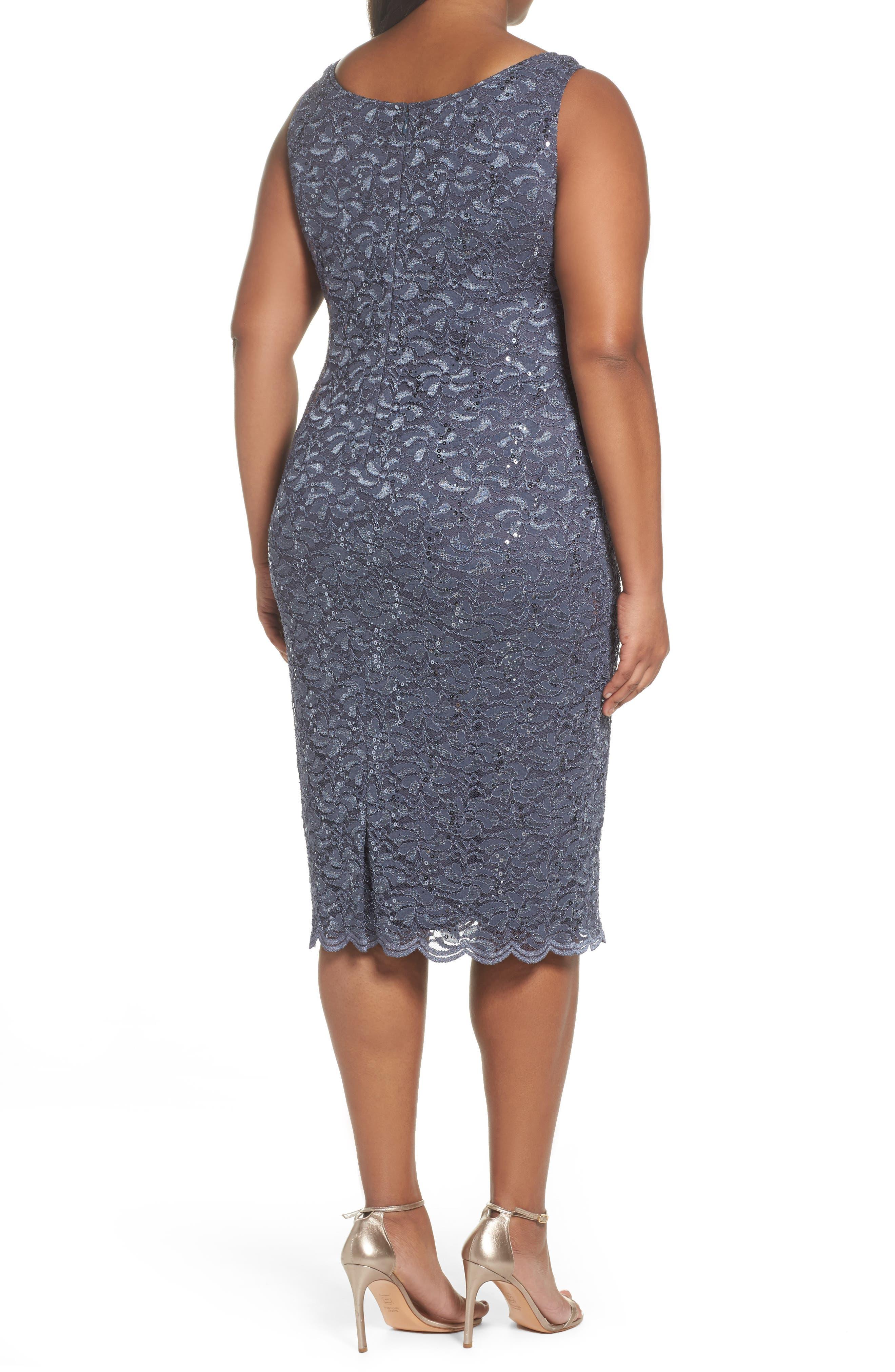 Sequin Lace Jacket Dress,                             Alternate thumbnail 4, color,                             473