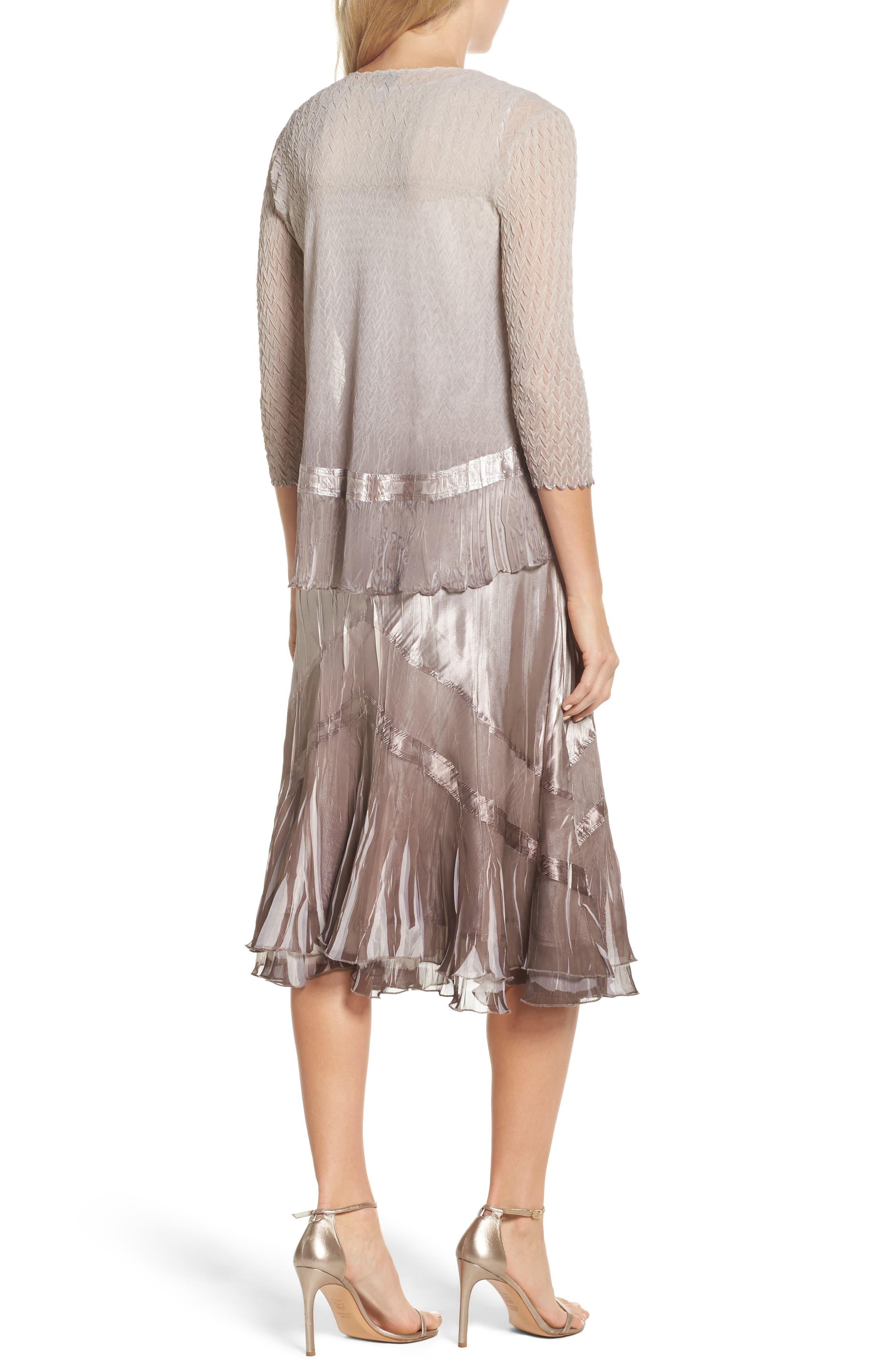 Beaded Charmeuse & Chiffon Midi Dress with Jacket,                             Alternate thumbnail 2, color,                             057