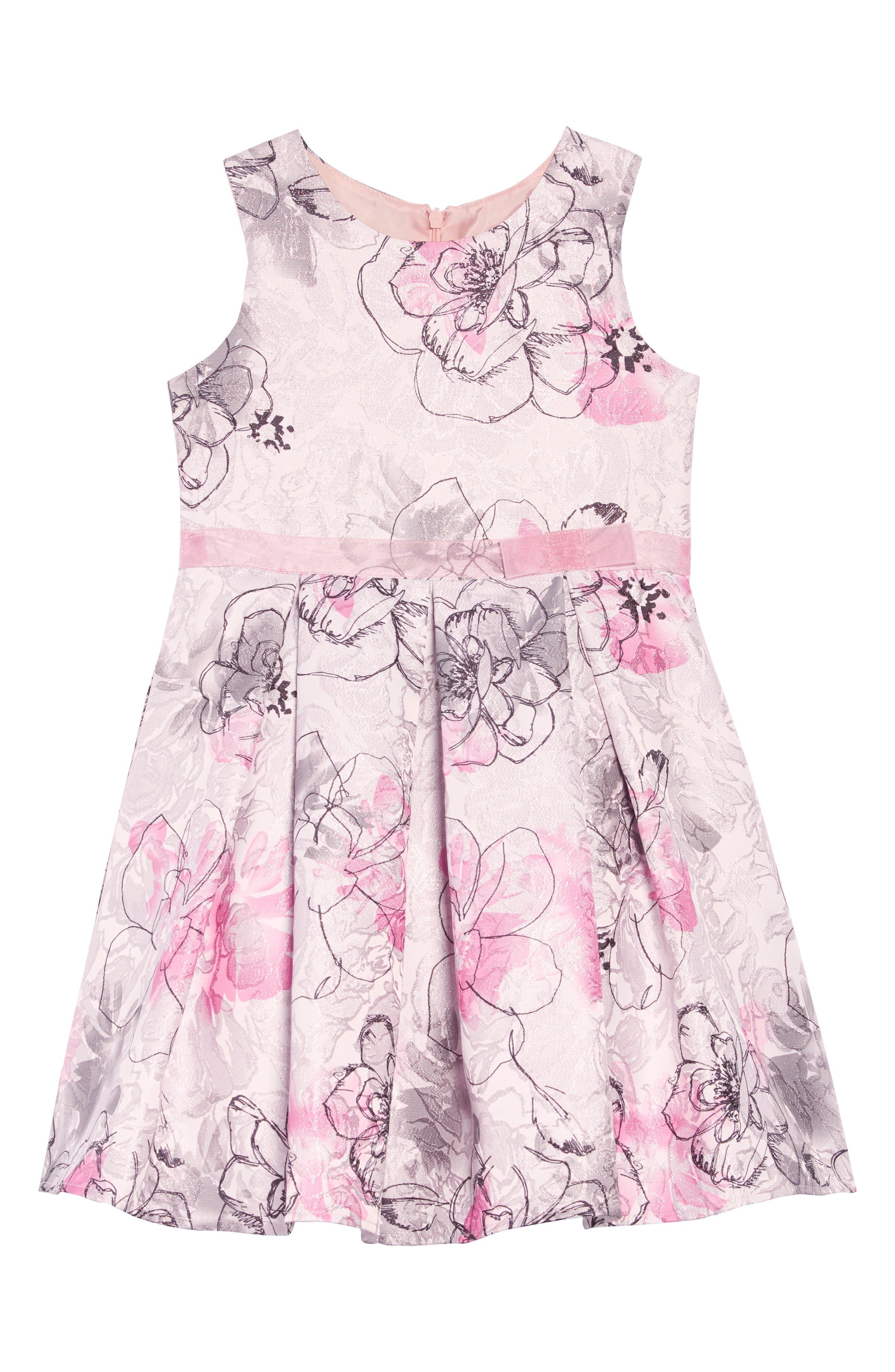 Jacquard Floral Dress,                         Main,                         color, MULTI PRINT