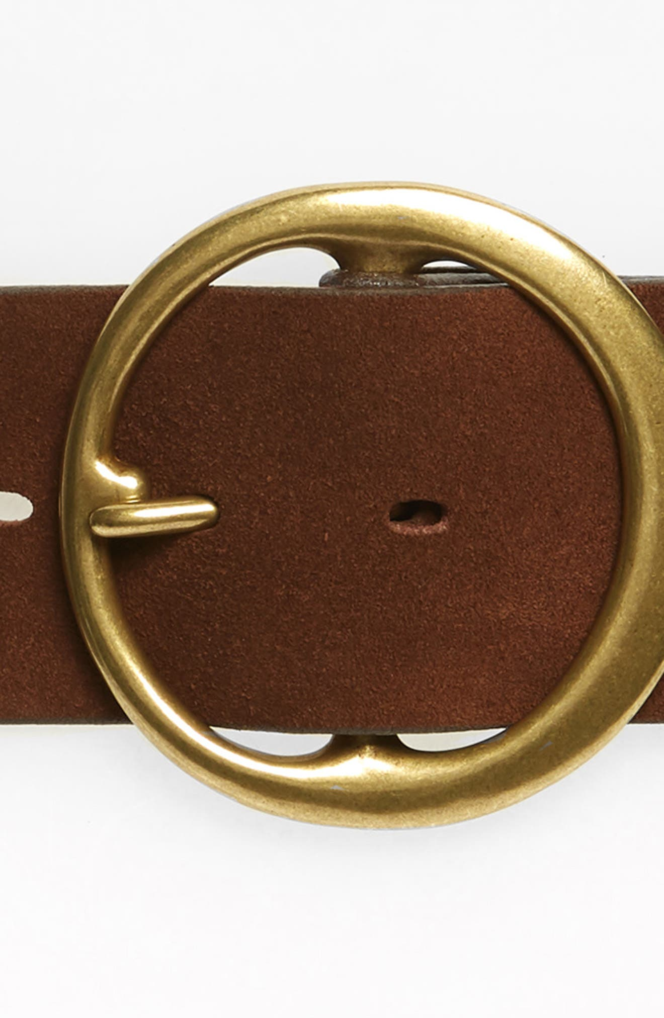 Round Buckle Suede Belt,                             Alternate thumbnail 3, color,                             COGNAC