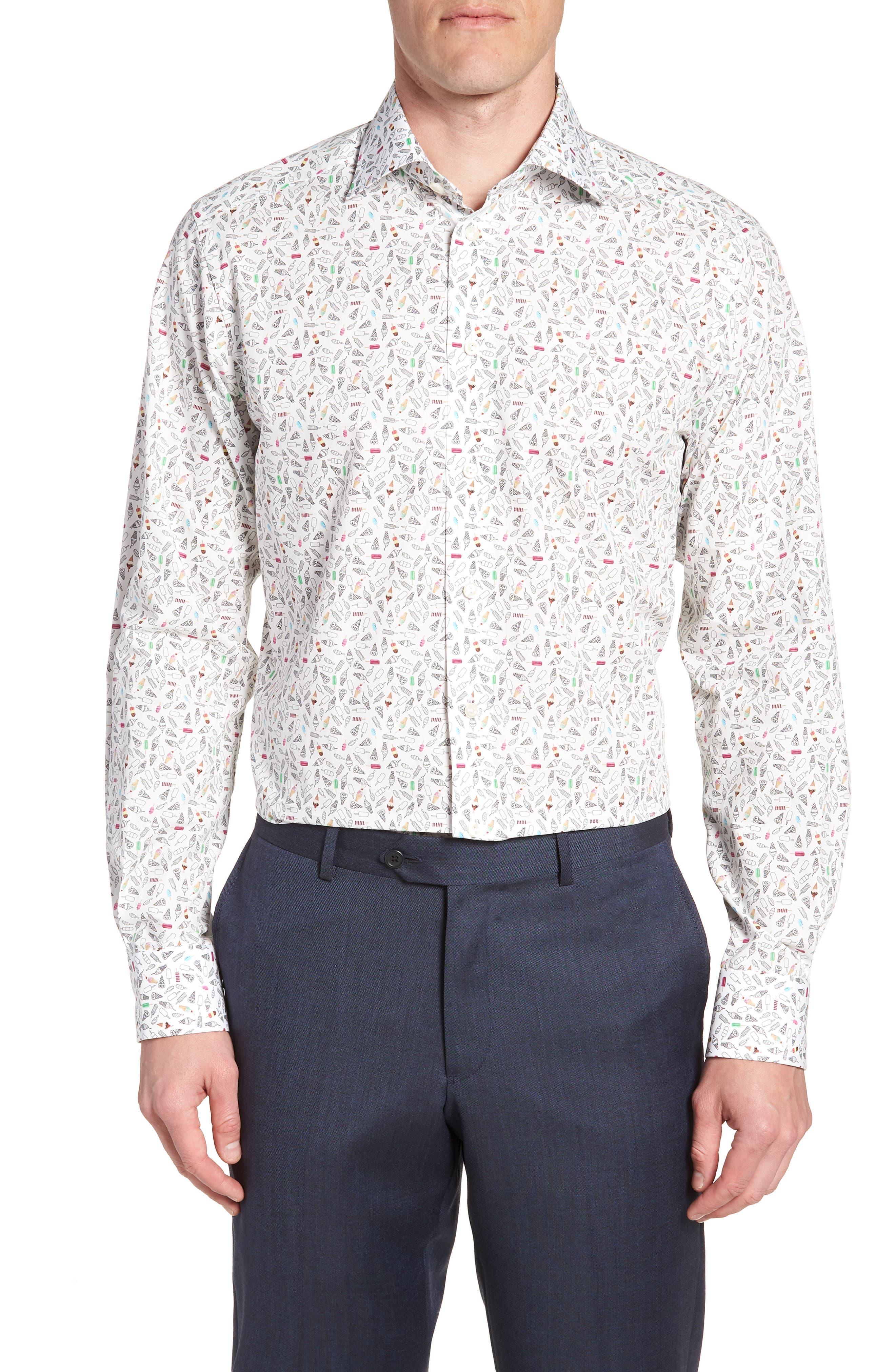 Contemporary Fit Print Dress Shirt,                             Main thumbnail 1, color,                             WHITE