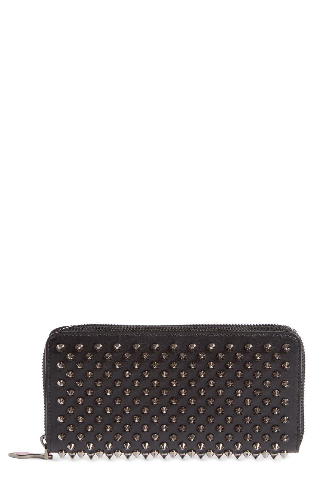 Panettone Spiked Calfskin Wallet,                         Main,                         color, BLACK/GUN METAL