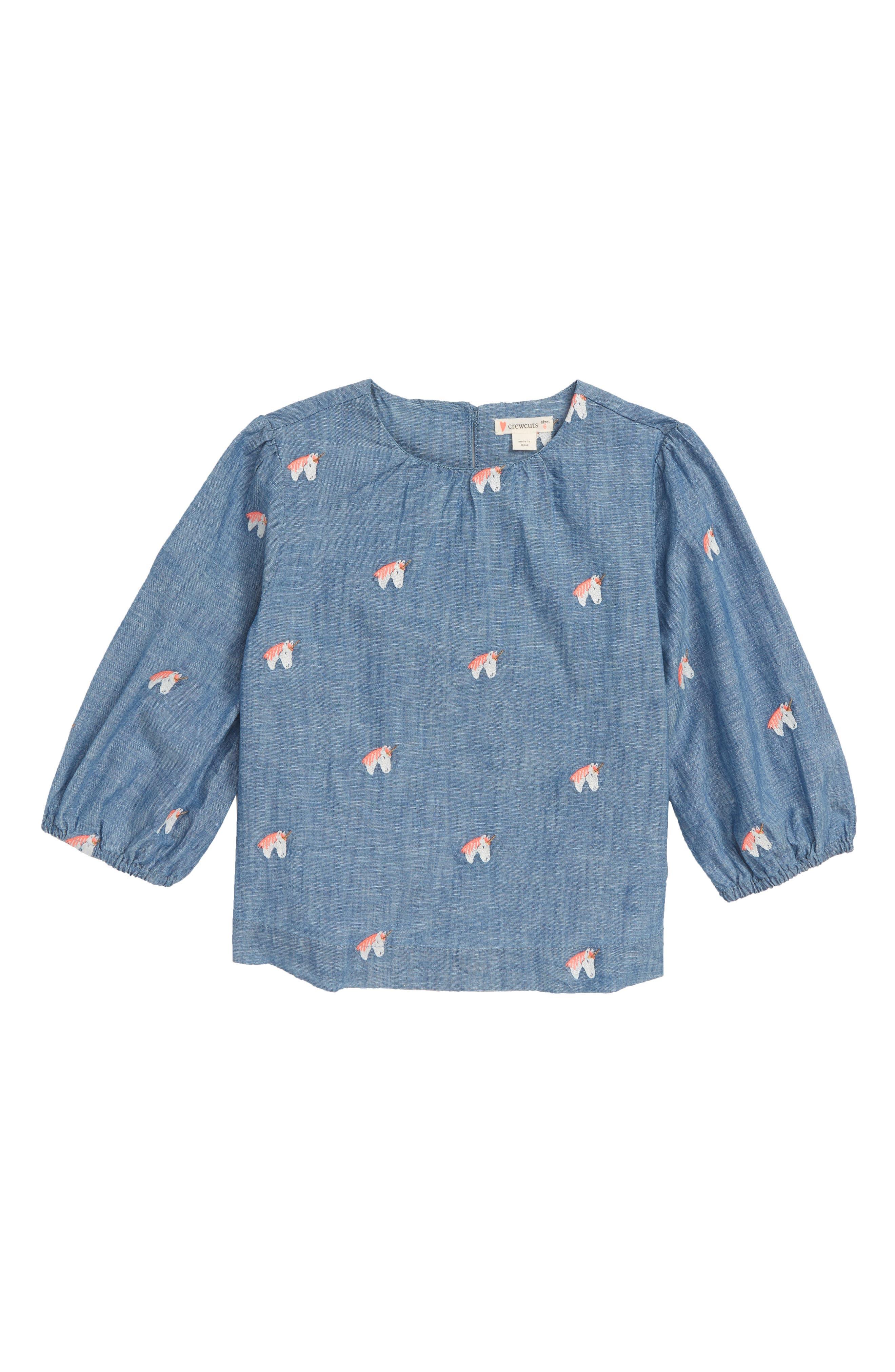CREWCUTS BY J.CREW Unicorn Chambray Popover Shirt, Main, color, 400