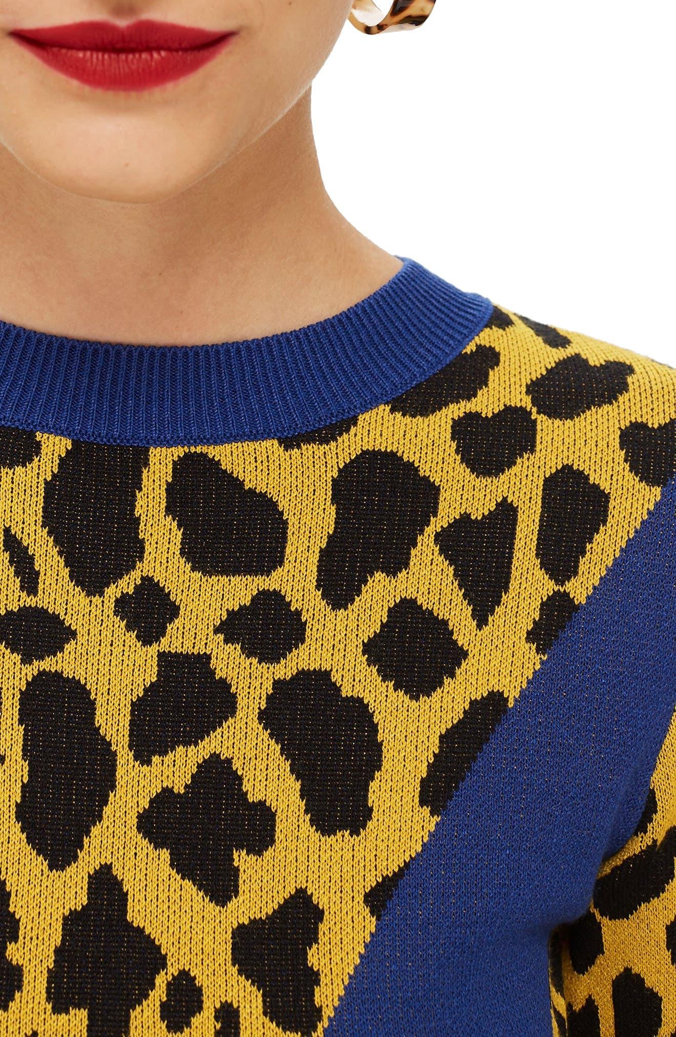 Leopard Chevron Sweater,                             Alternate thumbnail 4, color,                             MUSTARD MULTI