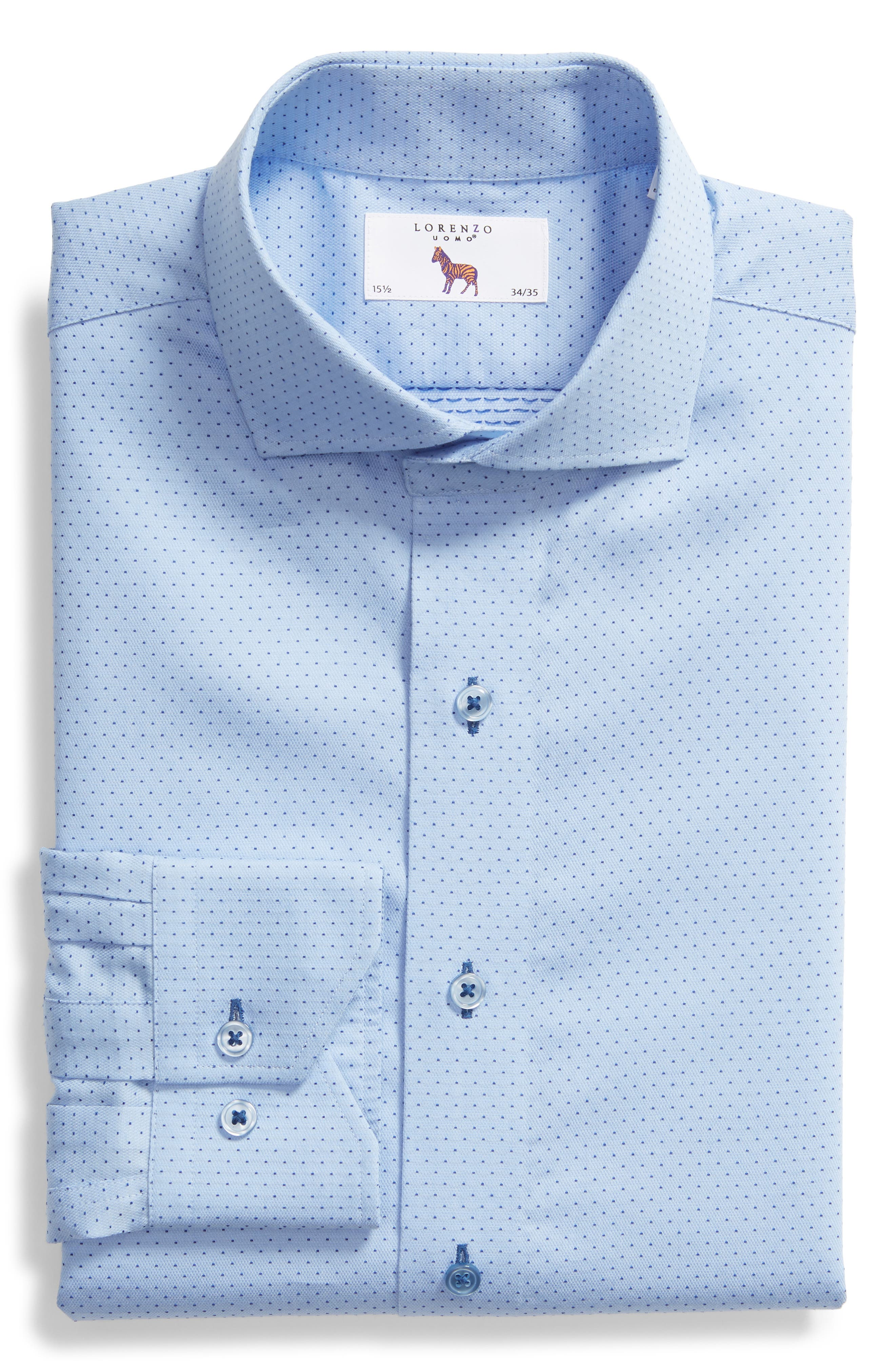 LORENZO UOMO,                             Trim Fit Dot Dress Shirt,                             Alternate thumbnail 5, color,                             LT BLUE