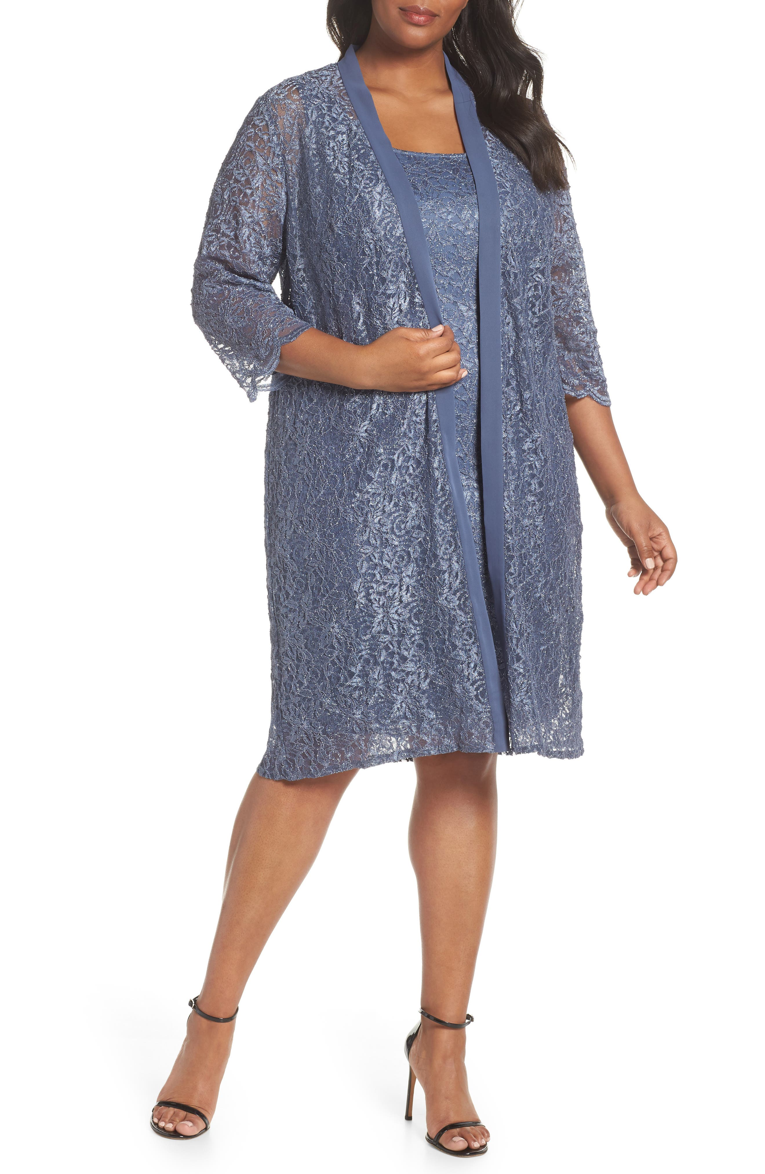 Plus Size Alex Evenings Lace Sheath Dress With Jacket, Grey