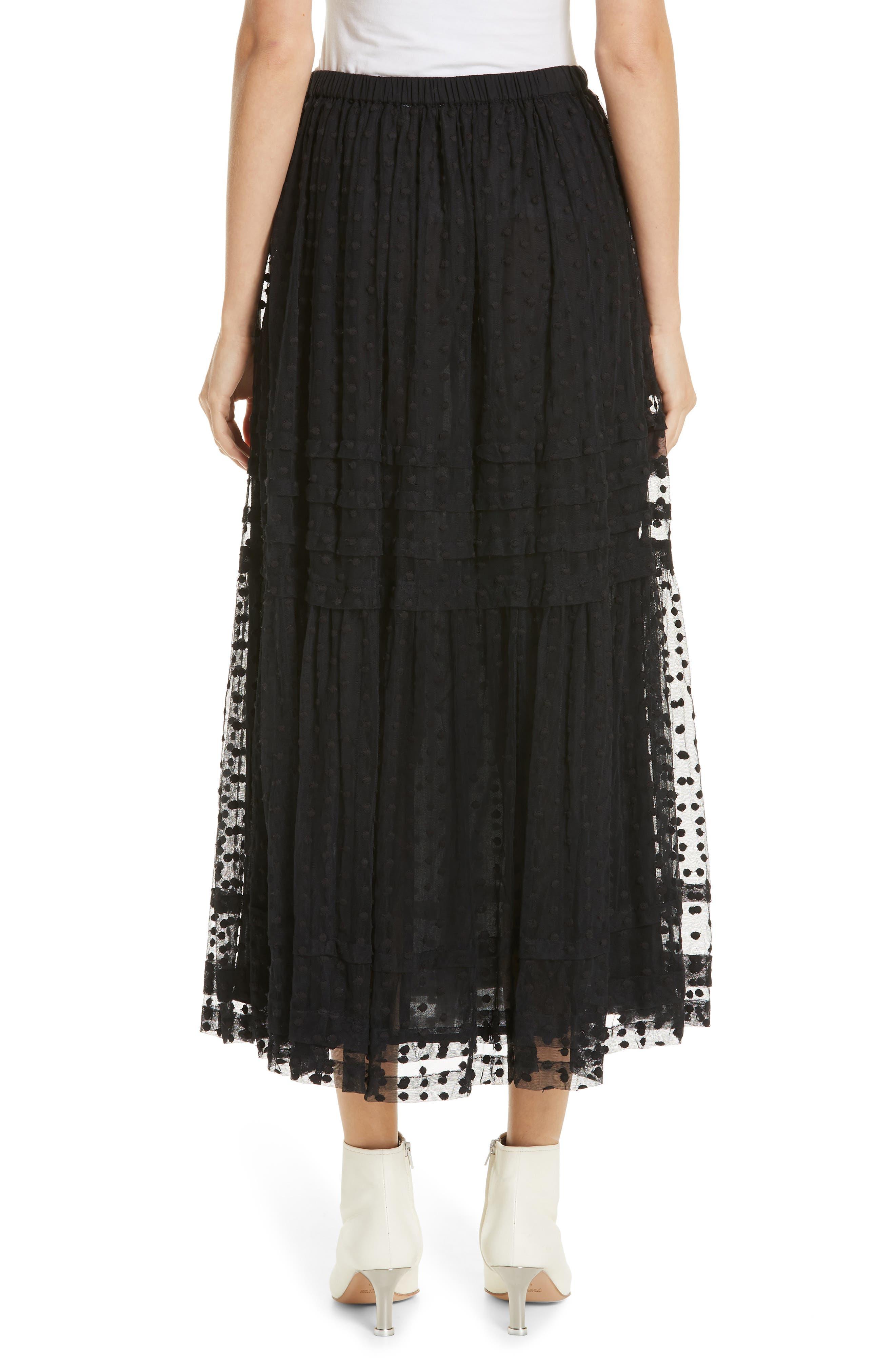 The Sway Polka Dot Mesh Skirt,                             Alternate thumbnail 2, color,                             BLACK