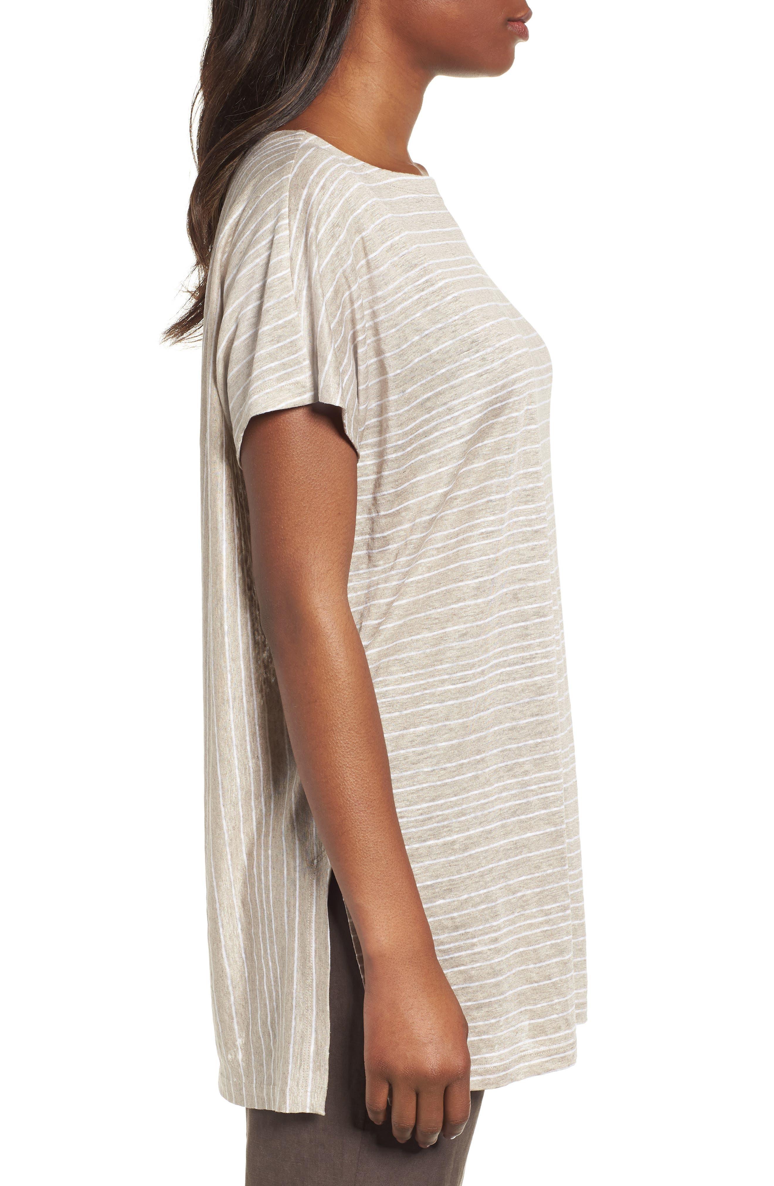 Stripe Organic Linen Tunic,                             Alternate thumbnail 7, color,