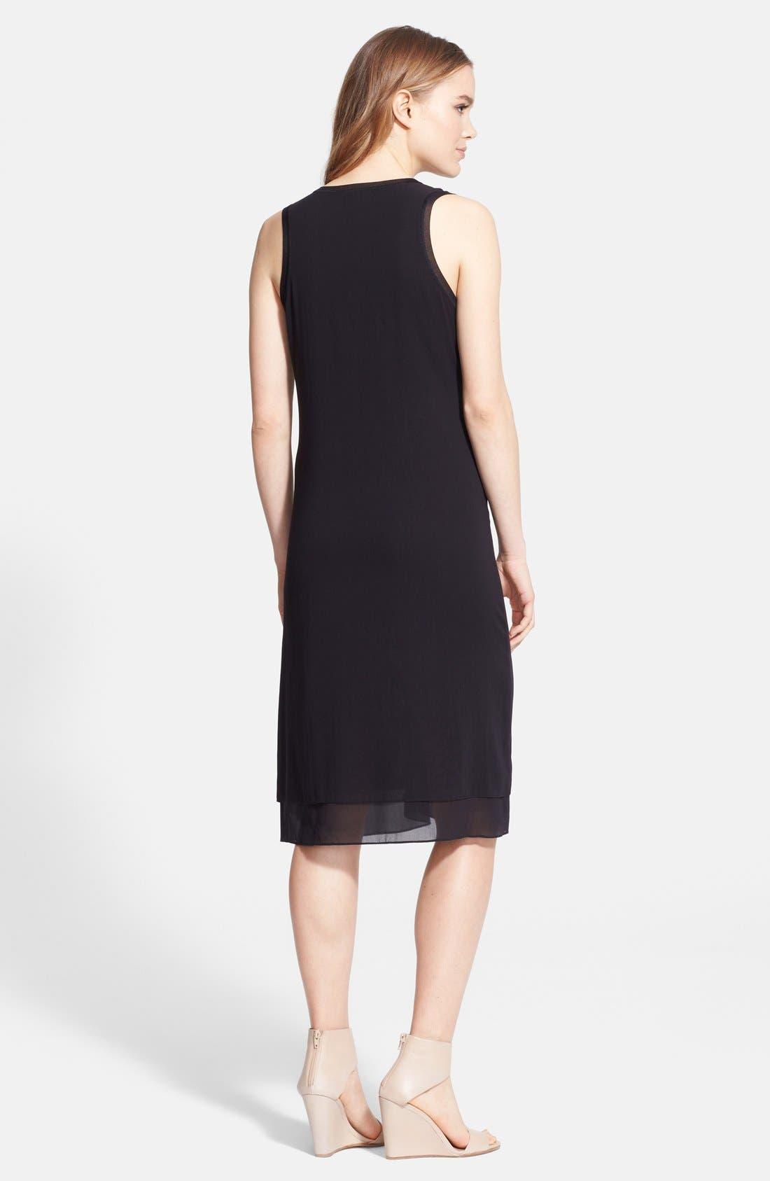 Rib Trim V-Neck Dress,                             Alternate thumbnail 2, color,                             011
