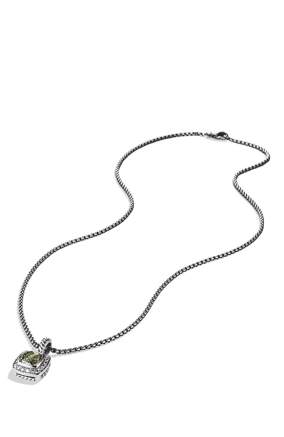'Albion' Petite Pendant with Prasiolite and Diamonds on Chain,                             Alternate thumbnail 2, color,                             PRASIOLITE
