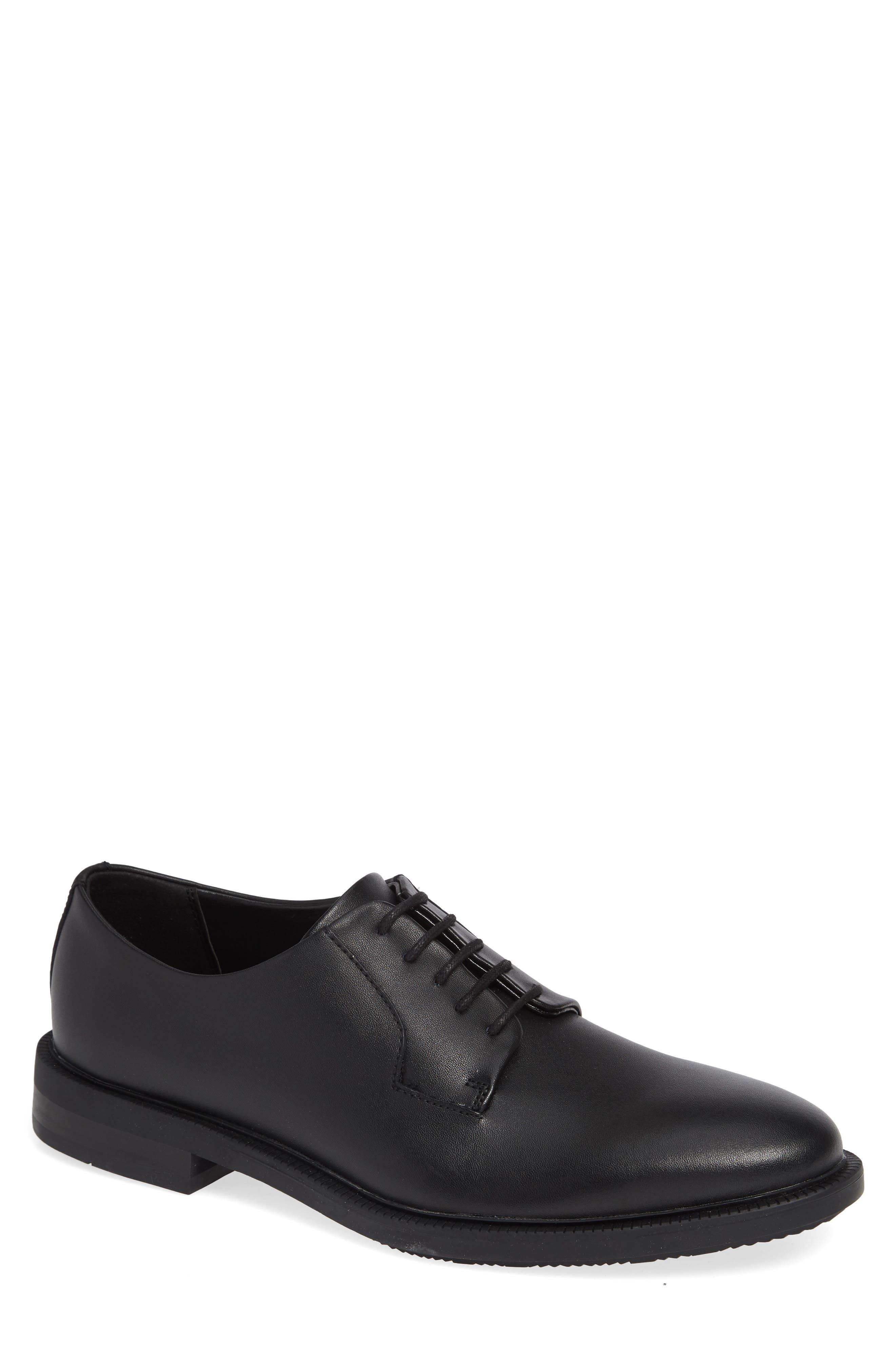 Carl Plain Toe Derby,                         Main,                         color, BLACK LEATHER