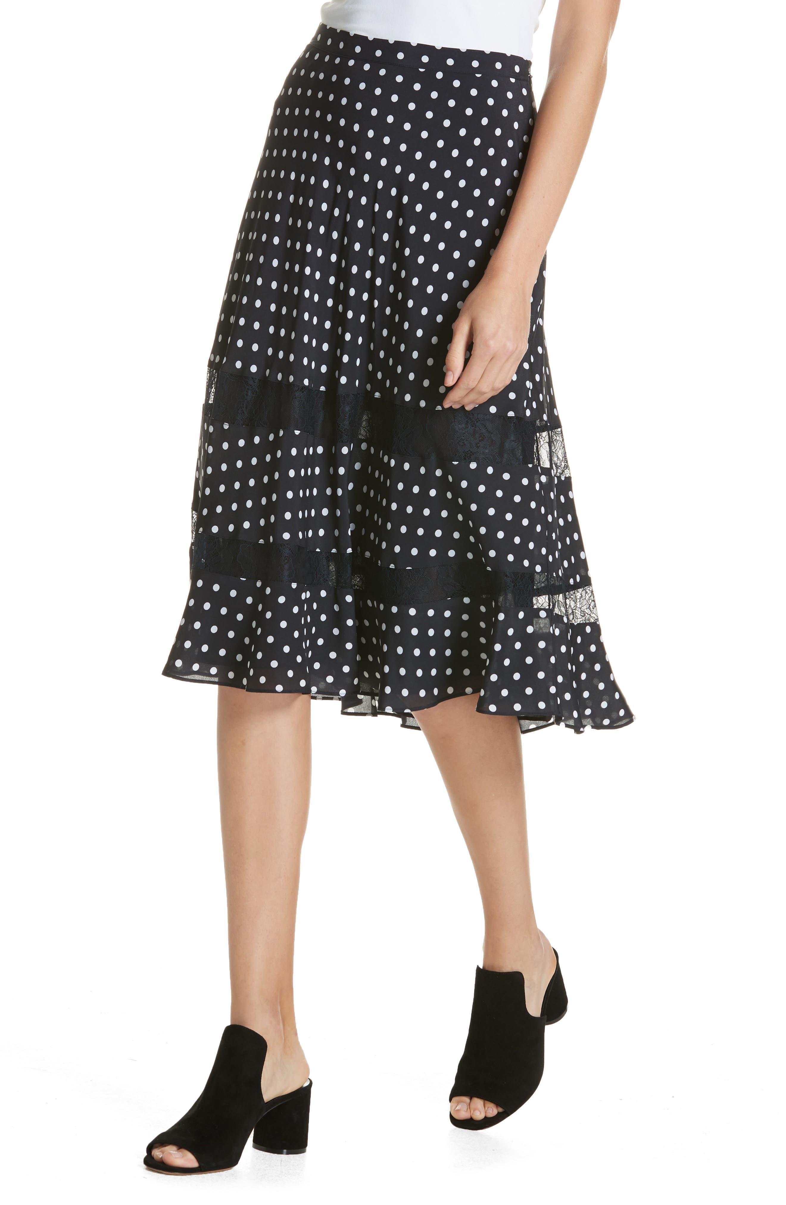 Lace Trim Dot Silk Skirt,                             Alternate thumbnail 4, color,                             NAVY NIGHT PETITE DOT