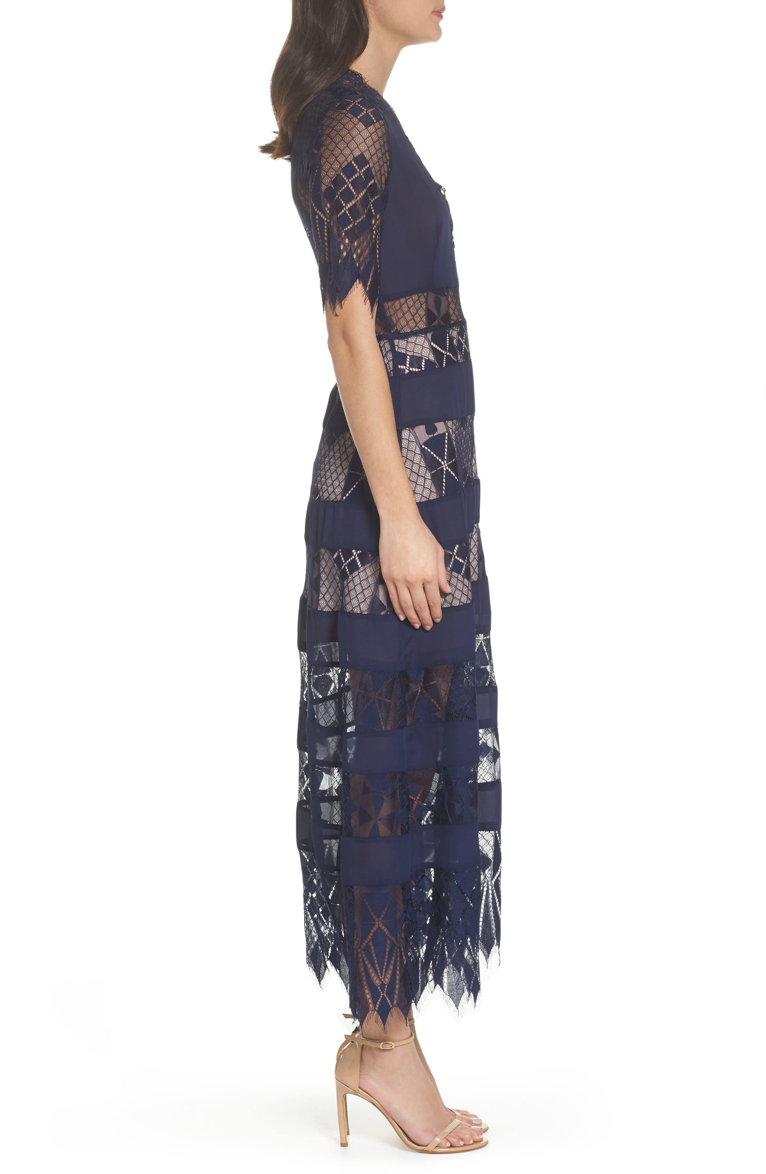Bravo Zulu Lacy Paneled Dress,                             Alternate thumbnail 3, color,                             414