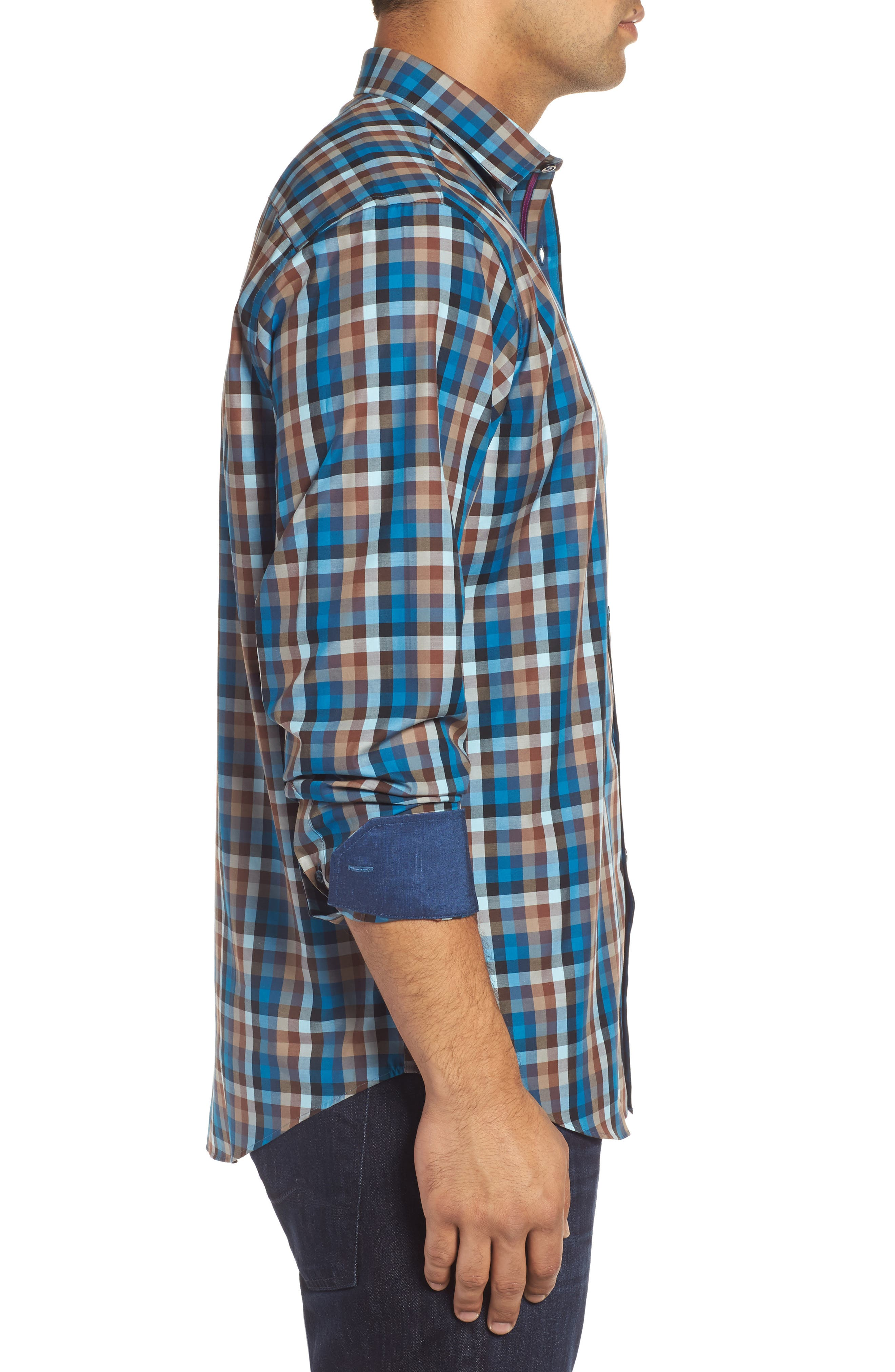 Classic Fit Twill Check Sport Shirt,                             Alternate thumbnail 3, color,                             208
