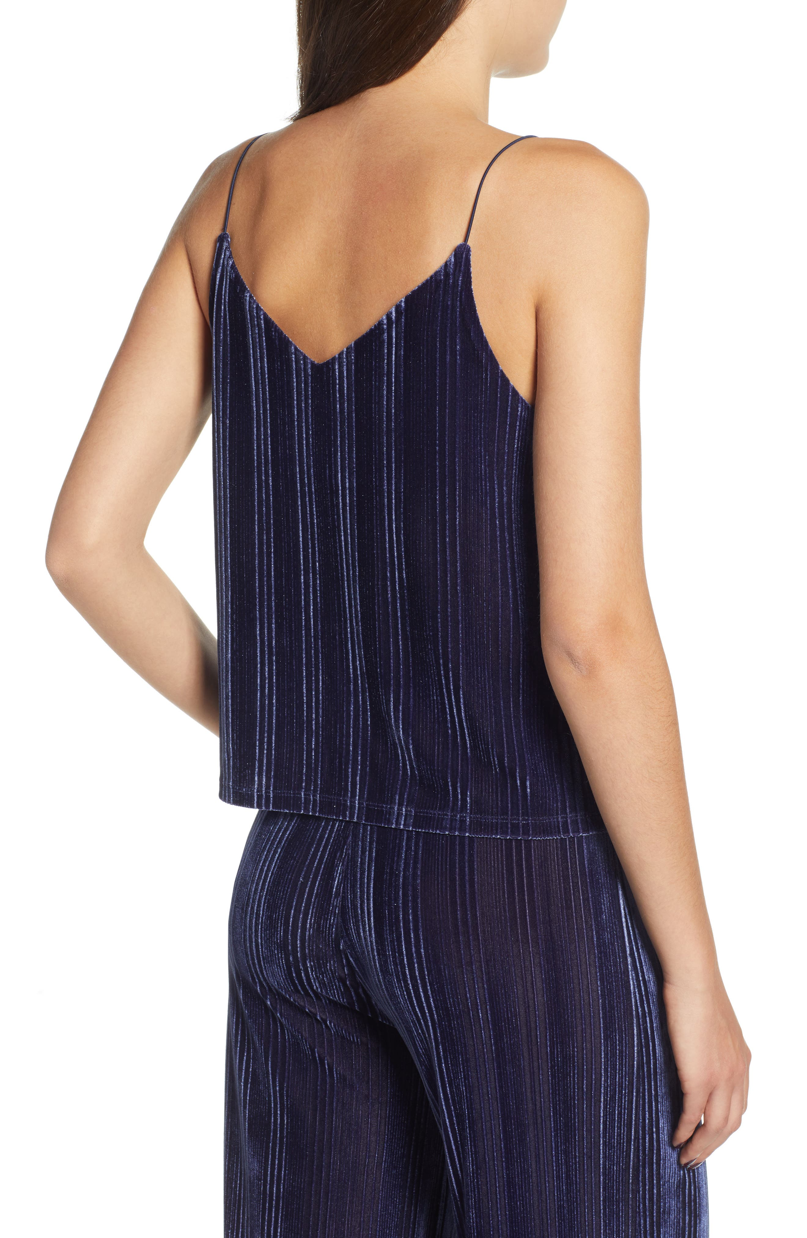 Velour Cami,                             Alternate thumbnail 2, color,                             NAVY MARITIME