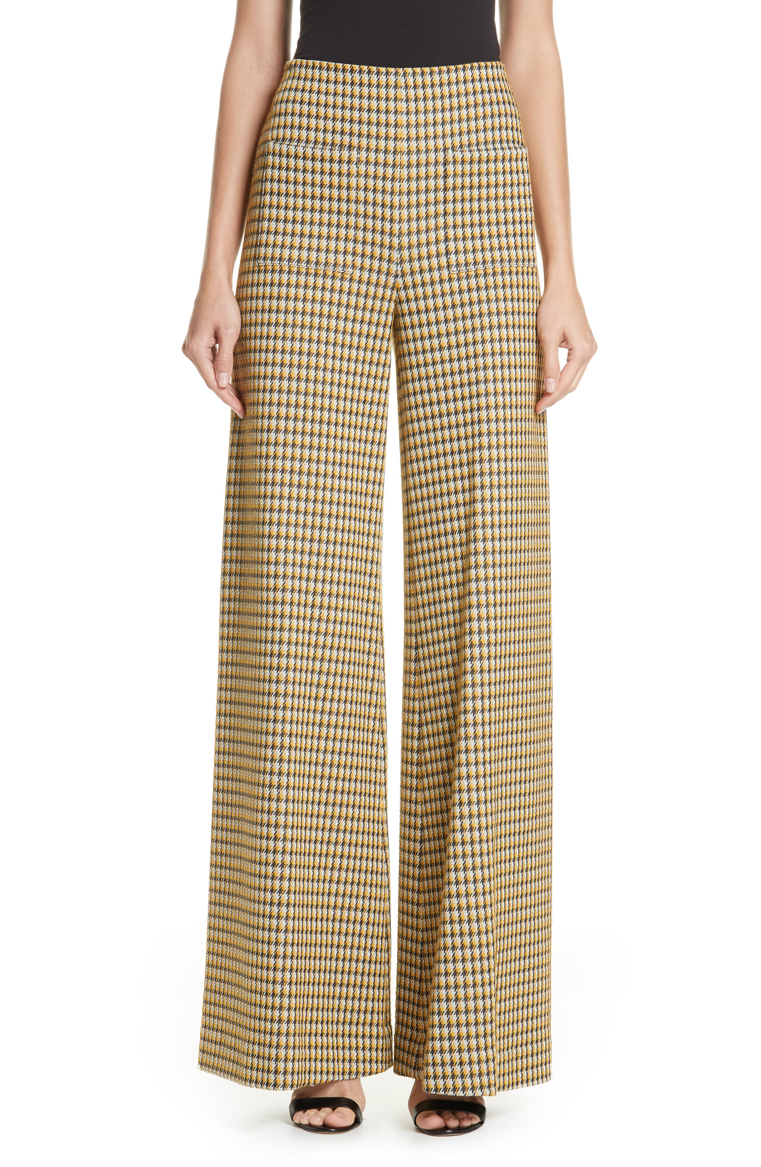 Luc Houndstooth Wide Leg Pants,                         Main,                         color, YELLOW/ MIDNIGHT