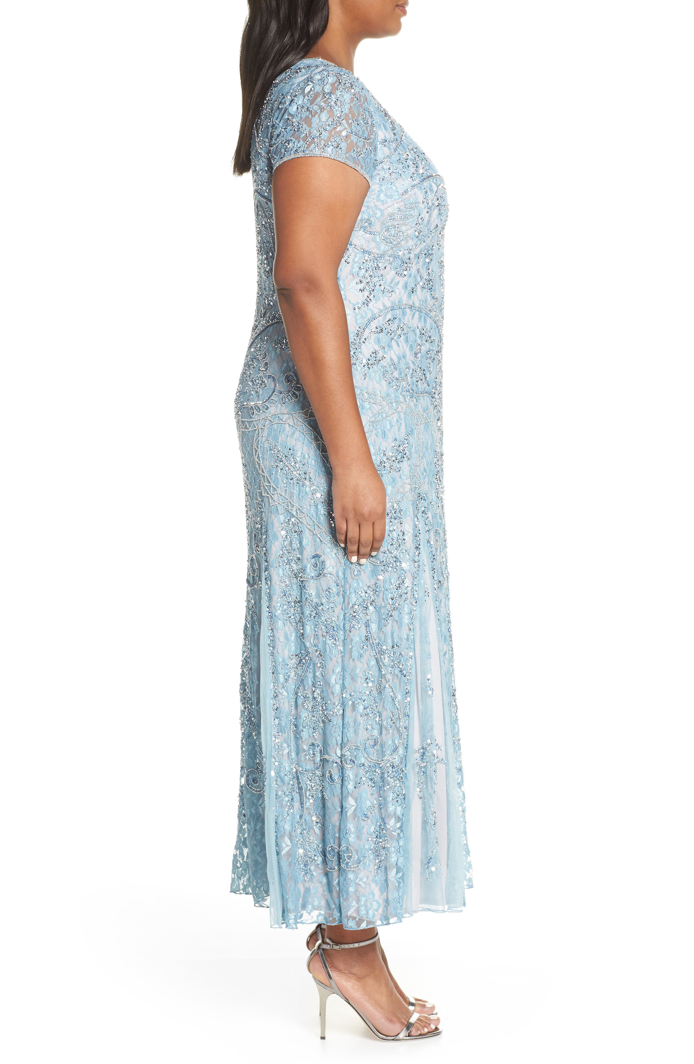 PISARRO NIGHTS,                             Embellished Lace A-Line Dress,                             Alternate thumbnail 3, color,                             SKY BLUE