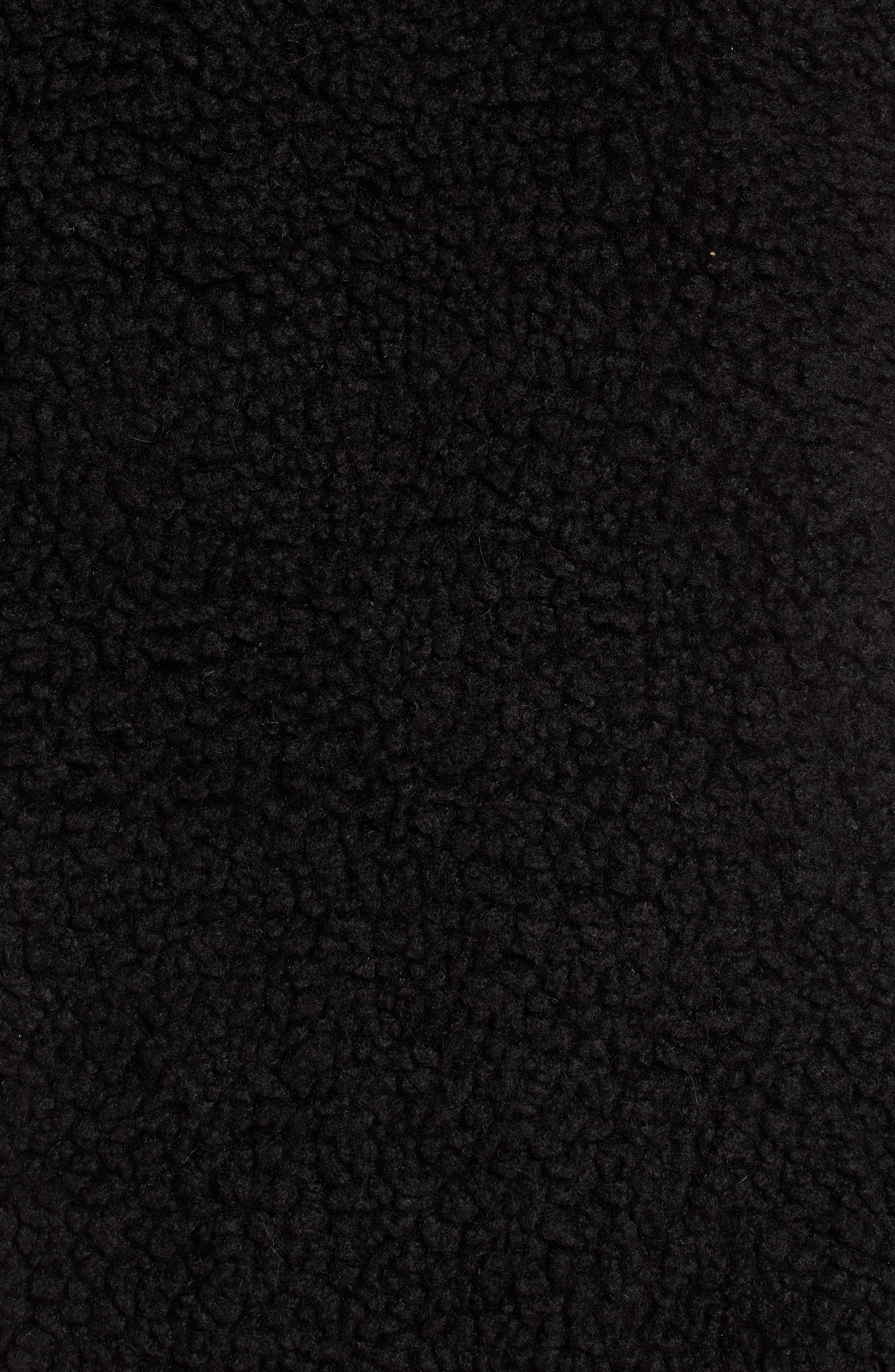 Faux Shearling Hooded Vest,                             Alternate thumbnail 5, color,                             BLACK