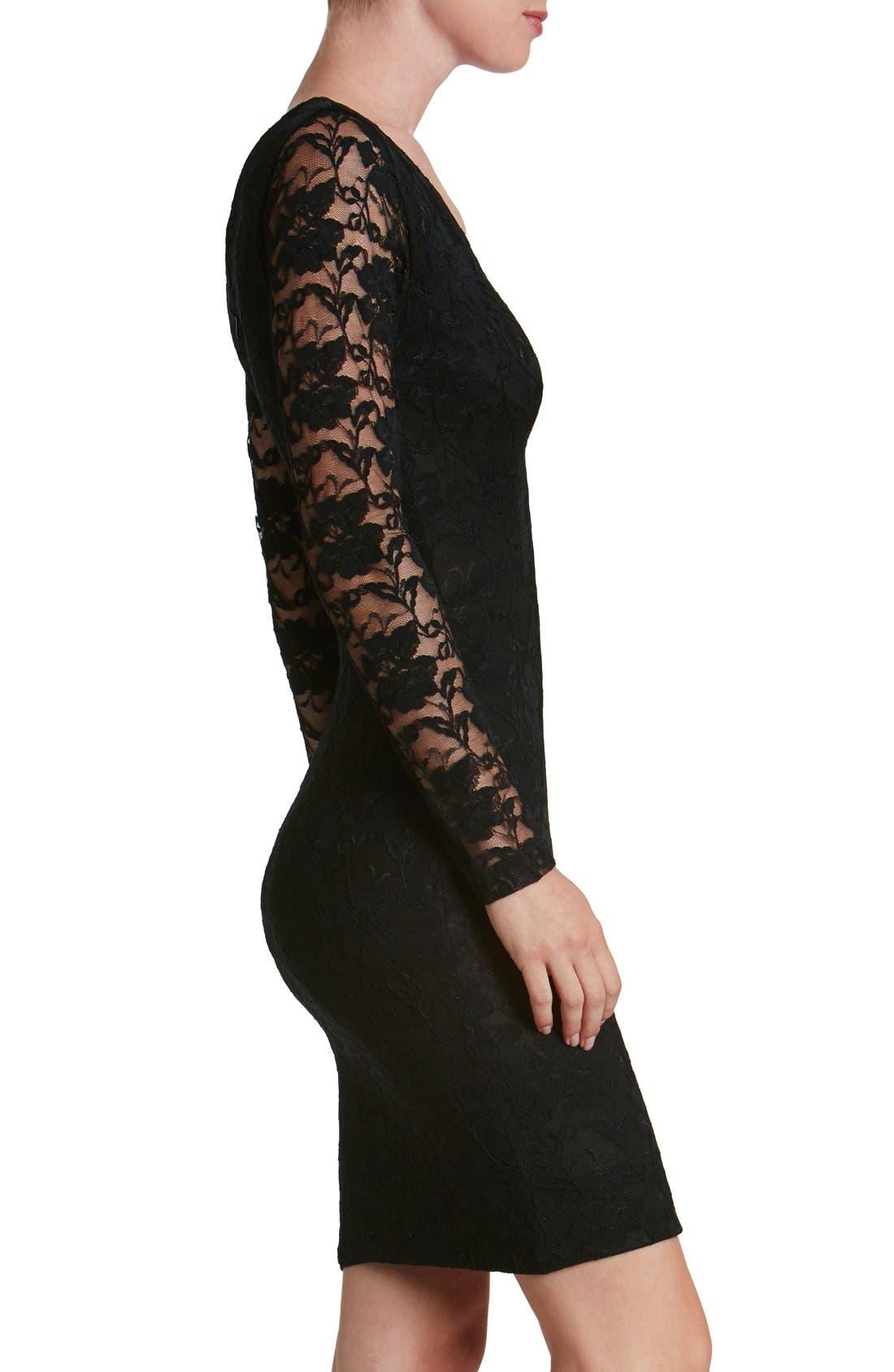 'Erica' Plunge Neck Lace Body-Con Dress,                             Alternate thumbnail 3, color,                             008