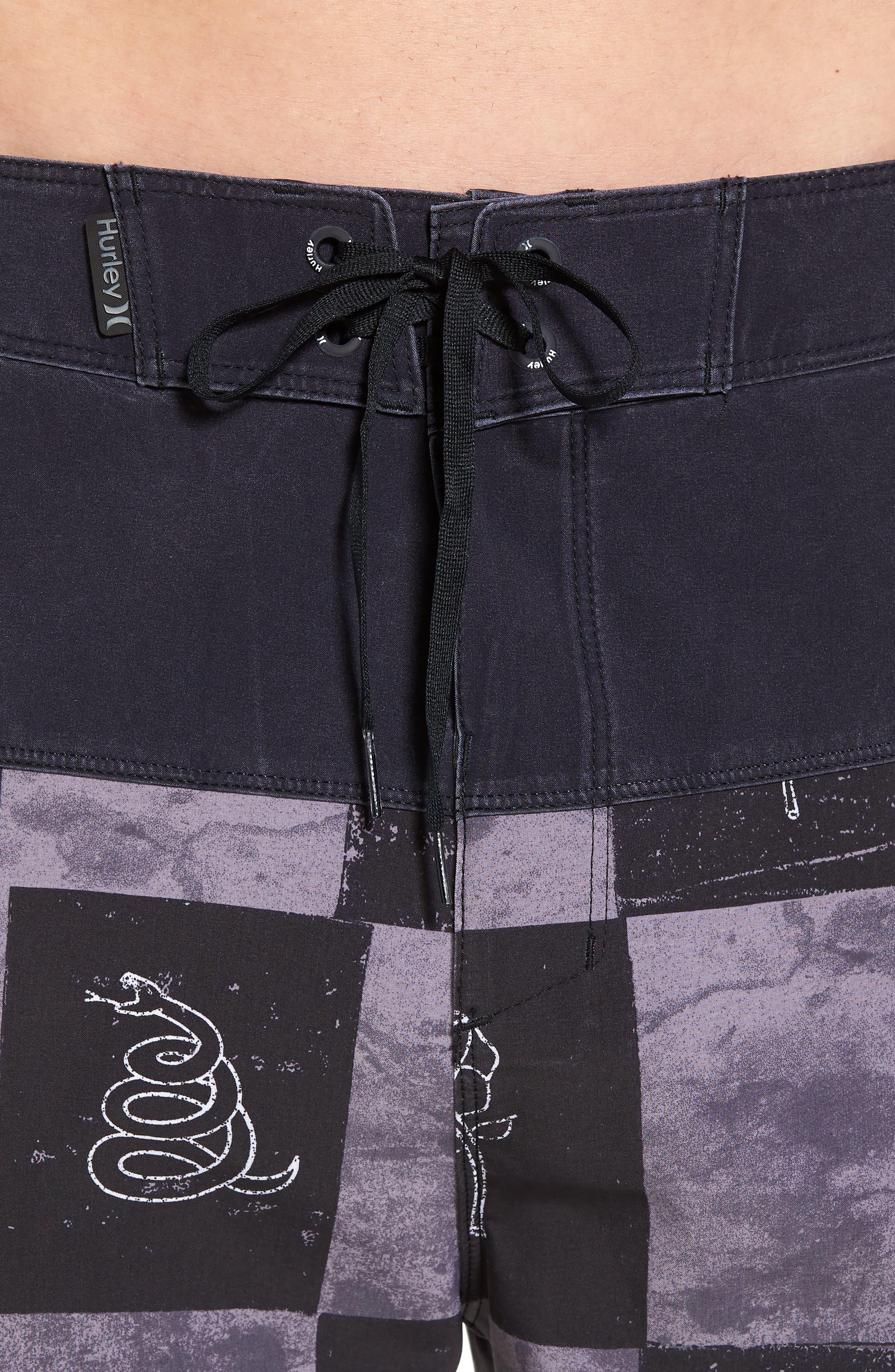 Phantom Surfcheck Board Shorts,                             Alternate thumbnail 4, color,                             BLACK