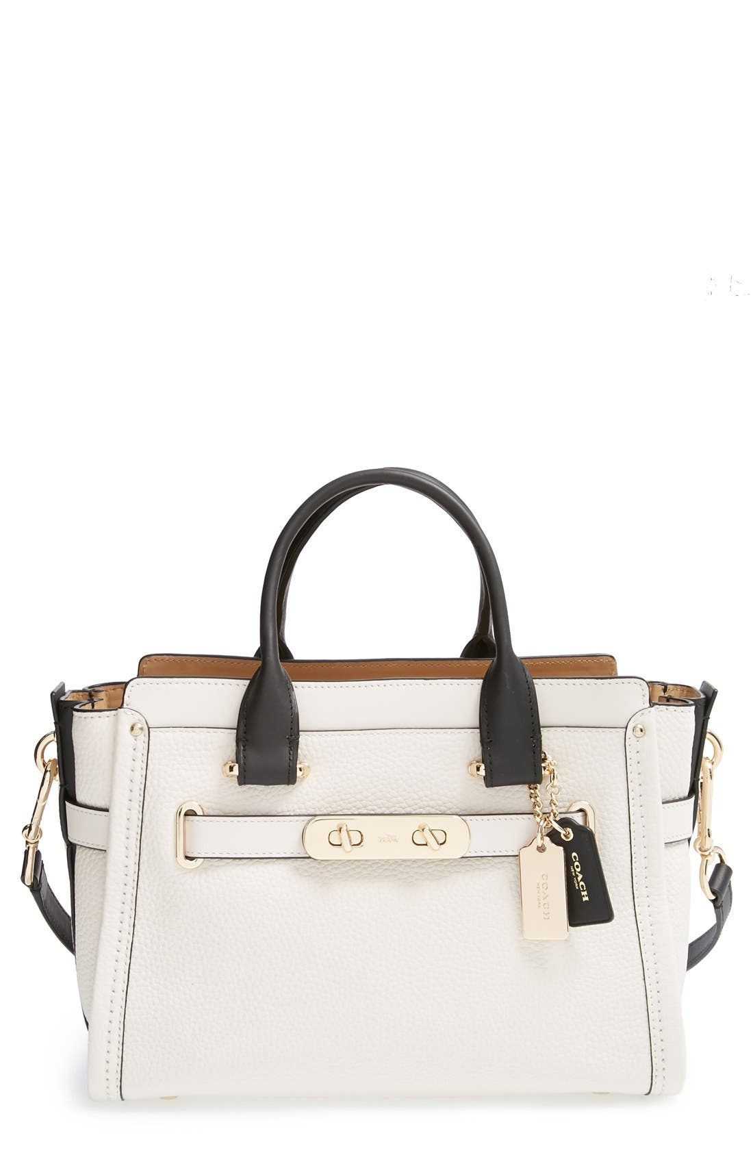 'Swagger 35' Colorblock Leather Satchel, Main, color, 178