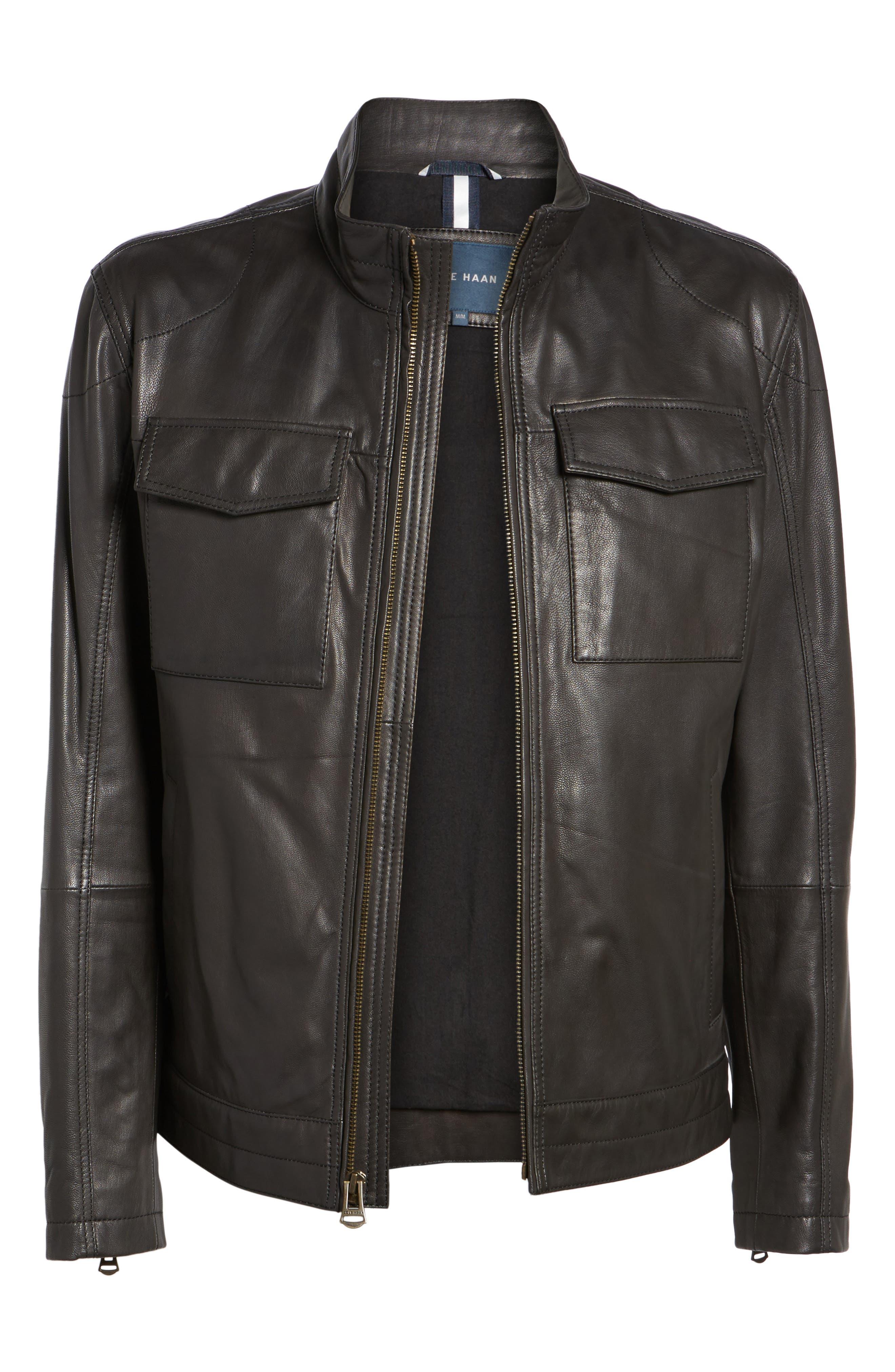 Washed Leather Trucker Jacket,                             Alternate thumbnail 5, color,                             BLACK