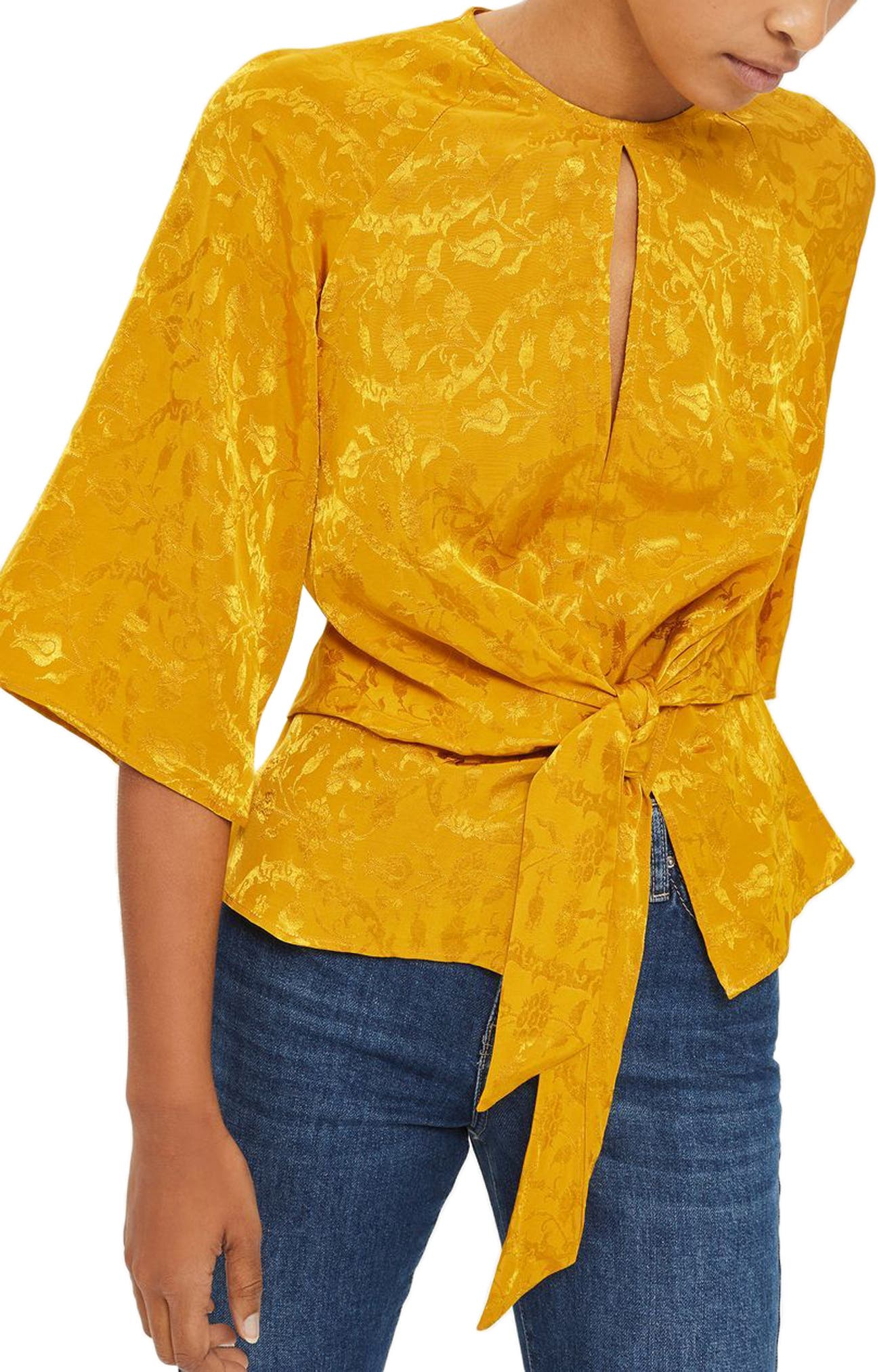 Tie Front Jacquard Blouse,                         Main,                         color, 701