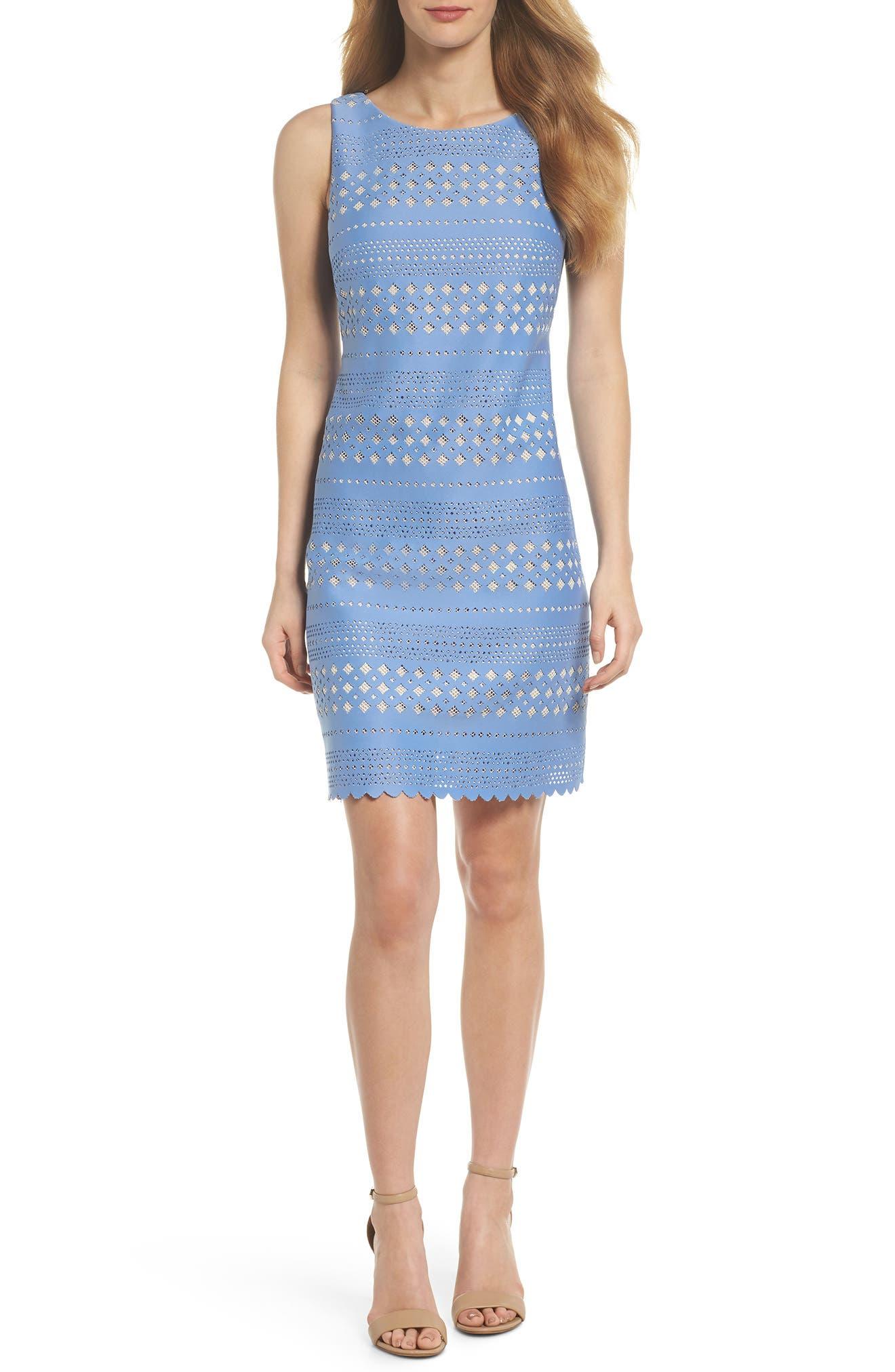 Laser Cut Sheath Dress,                             Main thumbnail 1, color,                             453