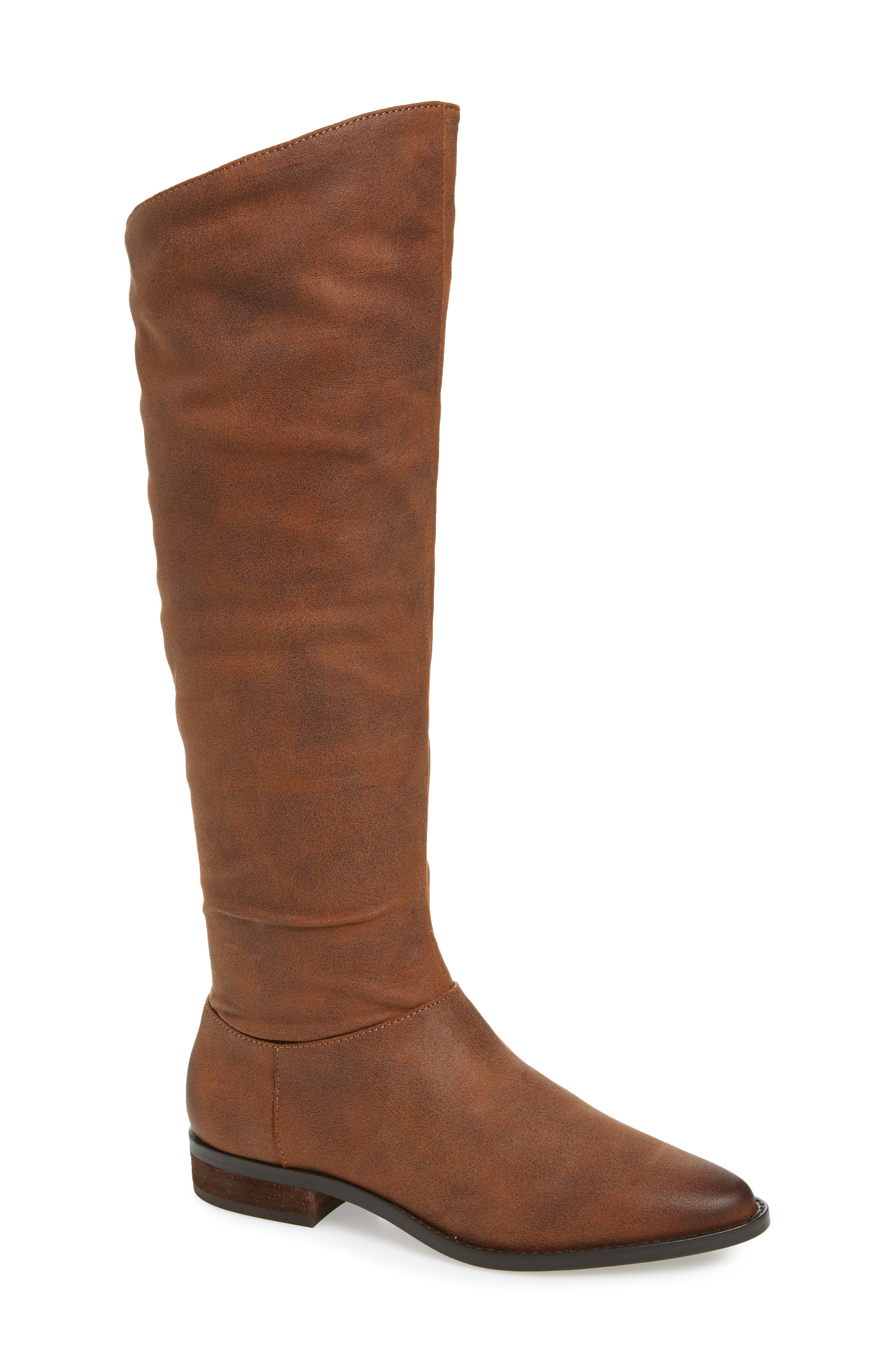 BAND OF GYPSIES Luna Over The Knee Boot in Brown Faux Leather