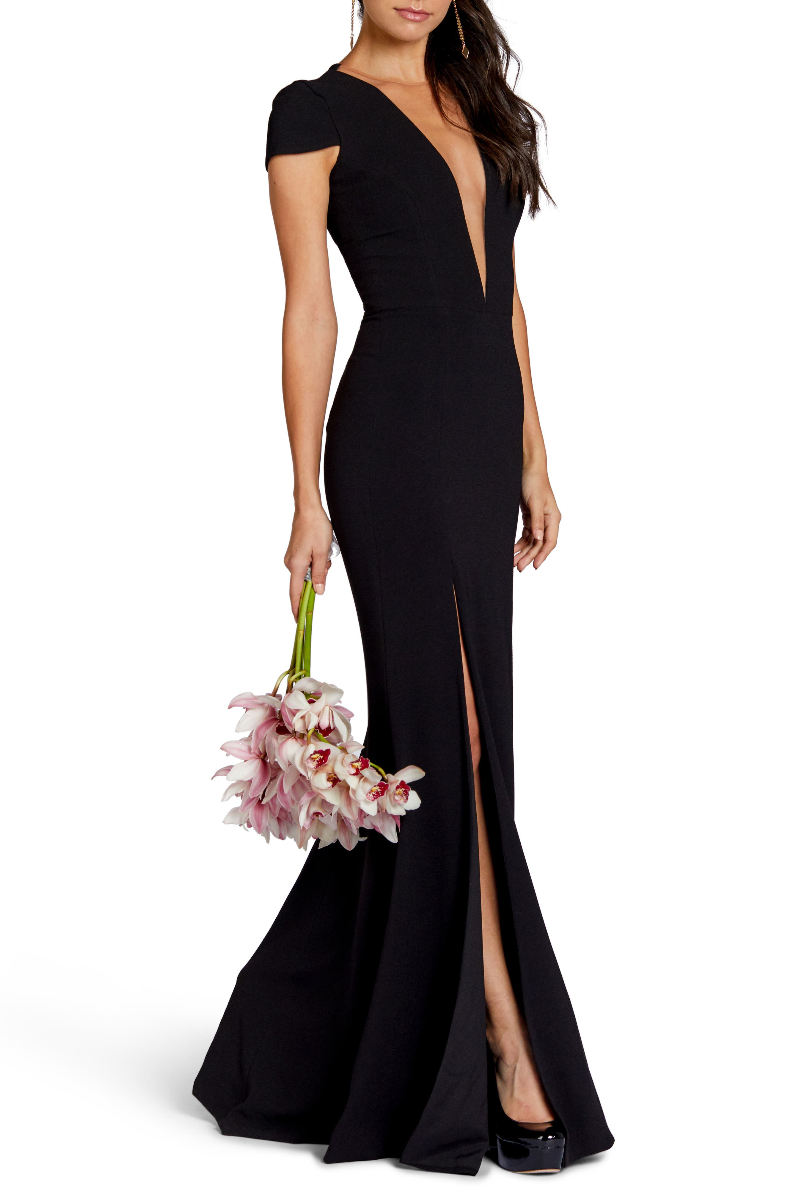 Leah Illusion Inset Crepe Gown,                             Alternate thumbnail 6, color,                             BLACK