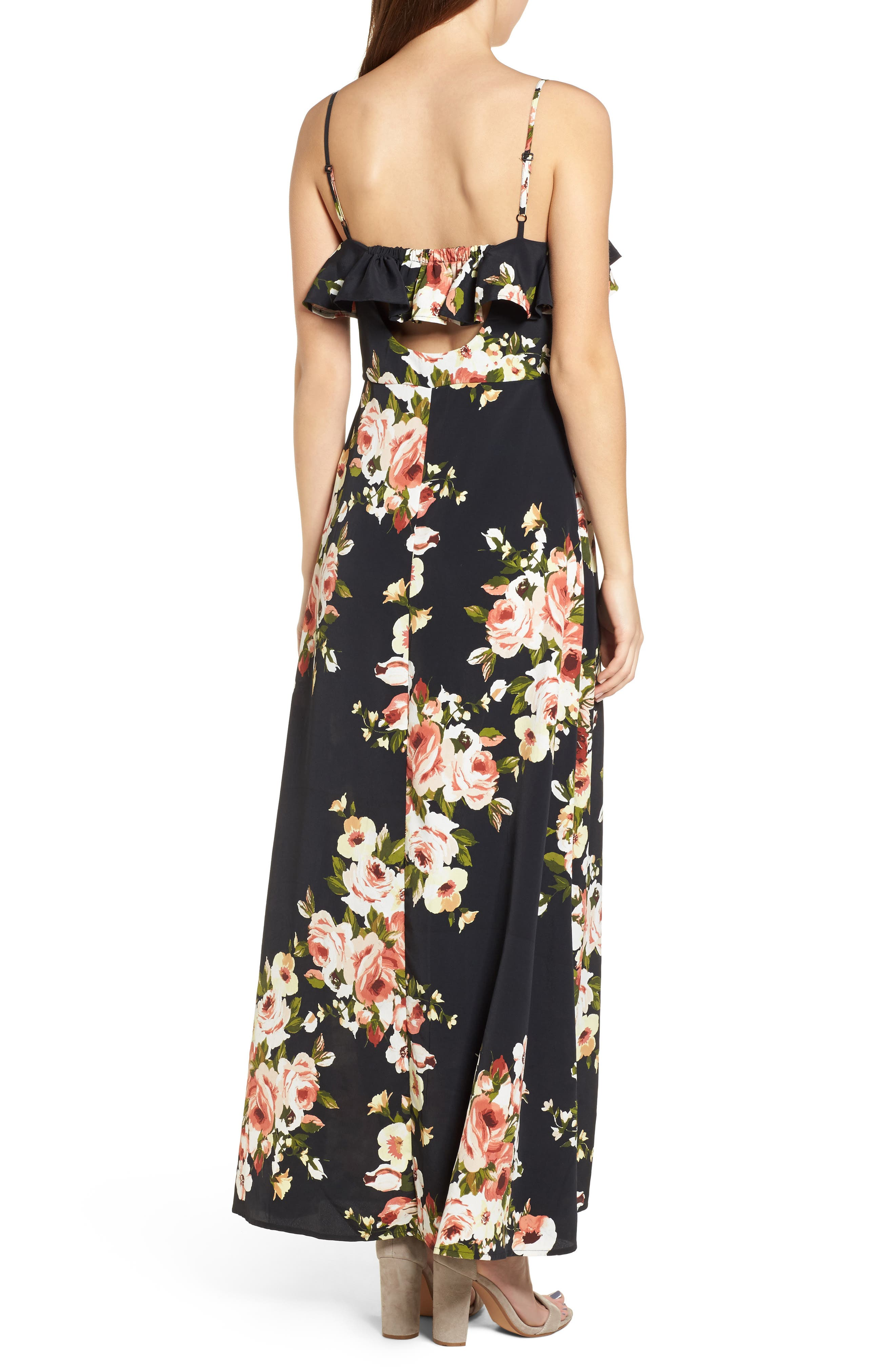 Floral Maxi Dress,                             Alternate thumbnail 2, color,                             010