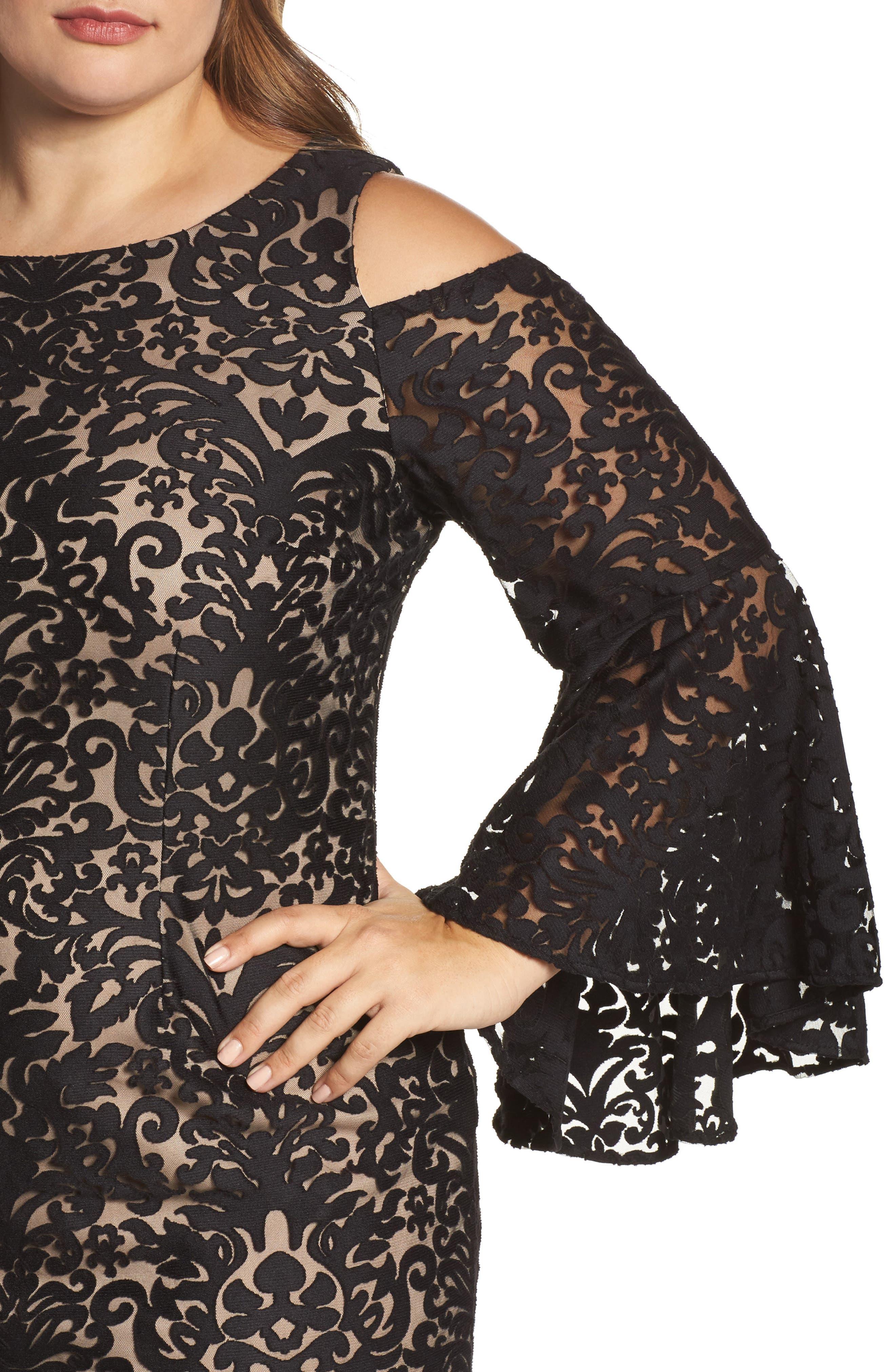 Lace Bell Sleeve Sheath Dress,                             Alternate thumbnail 4, color,                             012
