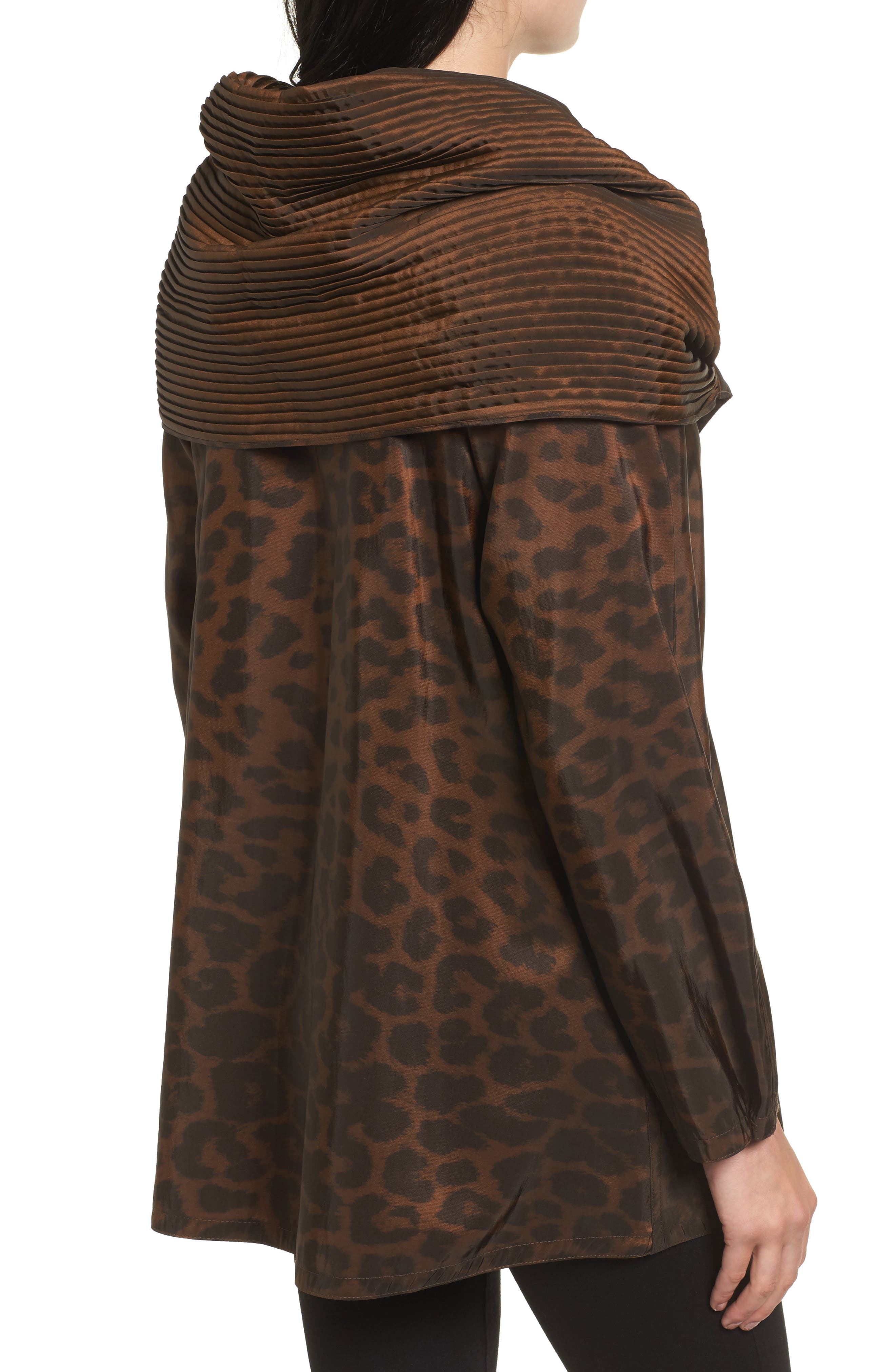 'Mini Donatella Leopard' Reversible Pleat Hood Packable Travel Coat,                             Alternate thumbnail 2, color,                             202