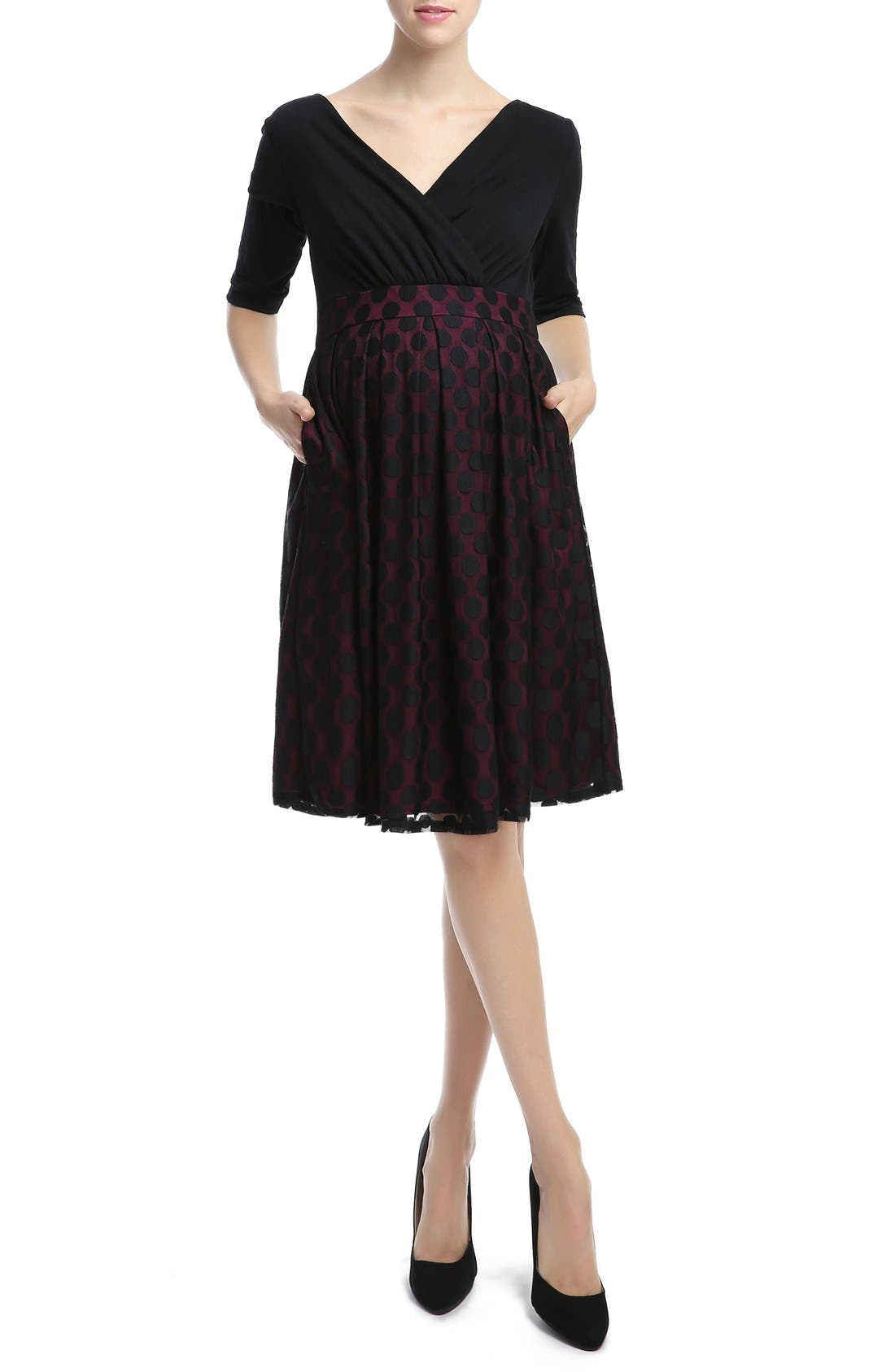 KIMI AND KAI,                             'Liliana' Polka Dot Lace Maternity Dress,                             Main thumbnail 1, color,                             003