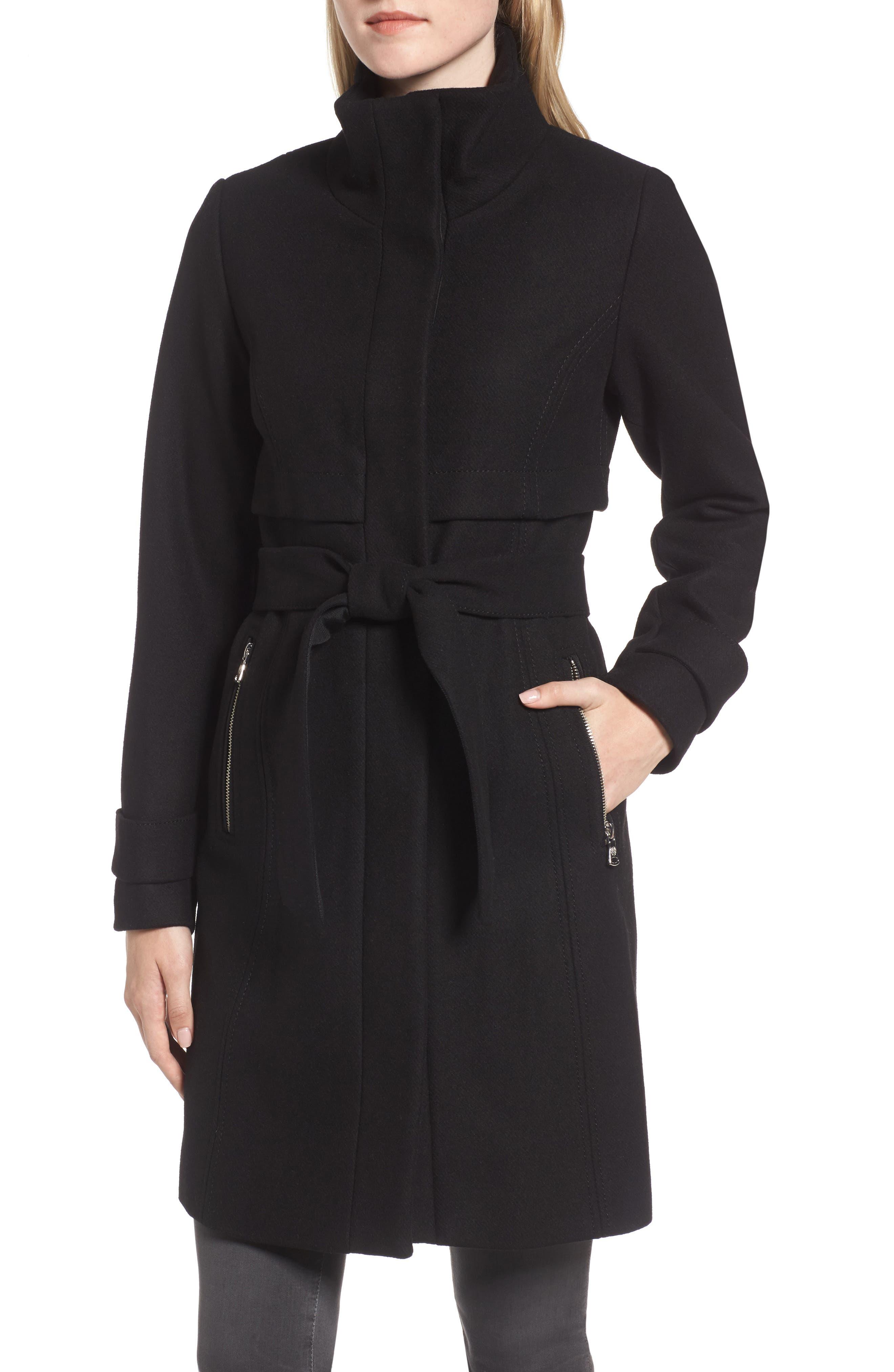 Flange Belted Coat,                             Alternate thumbnail 4, color,                             001