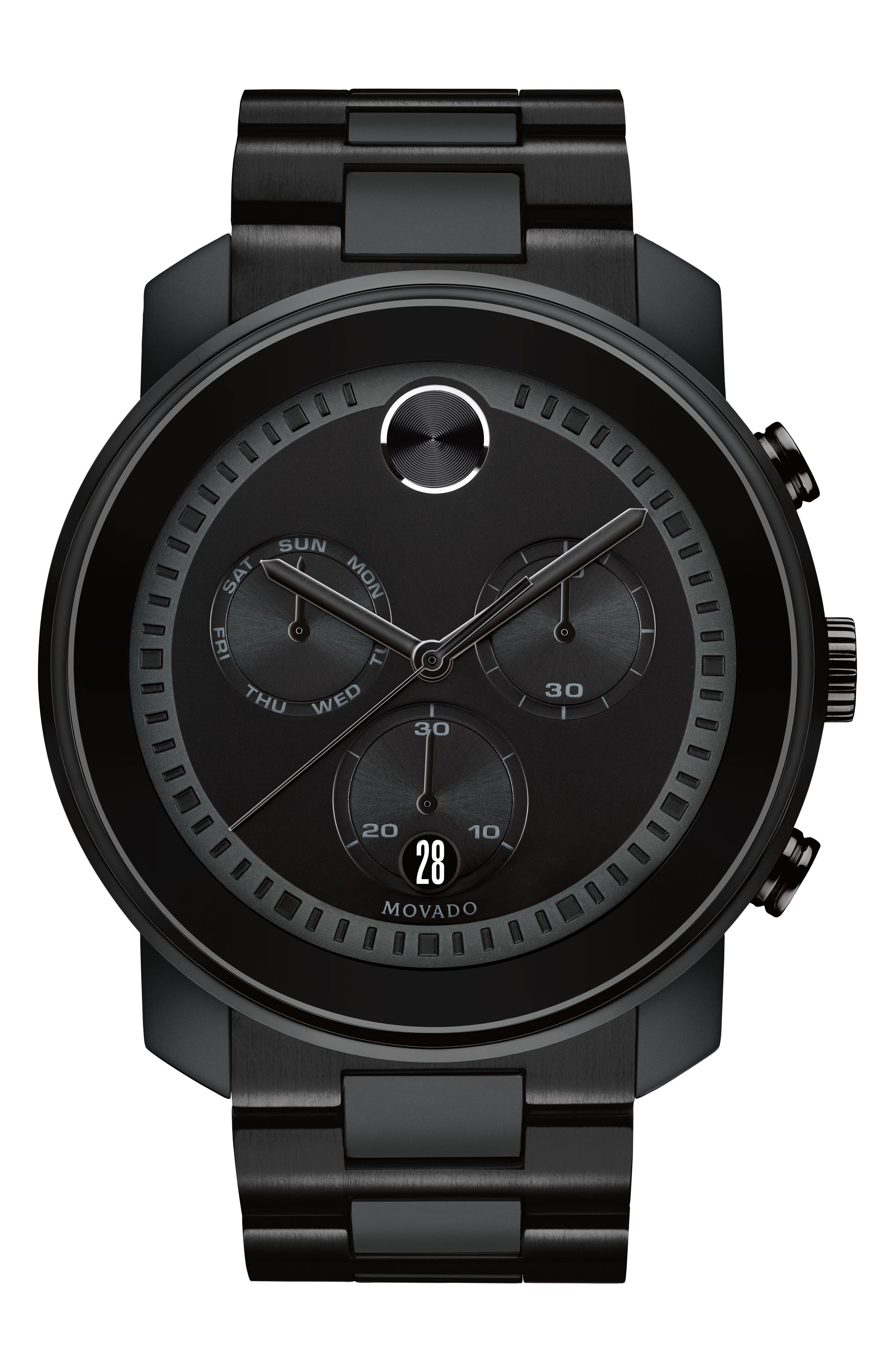Bold Metals Chronograph Bracelet Watch, 47mm,                             Main thumbnail 1, color,                             BLACK