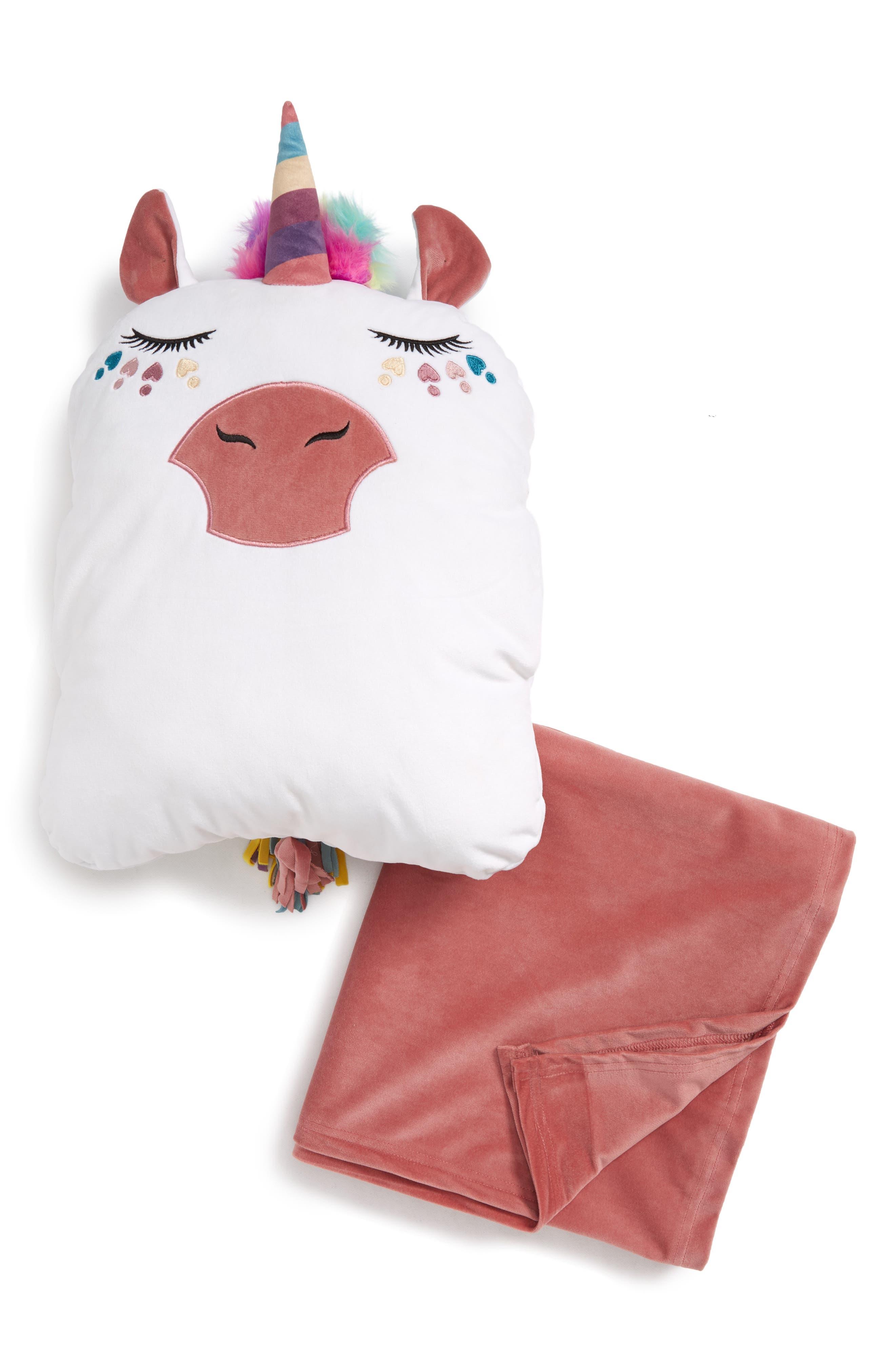 Critter Pillow & Throw Set,                         Main,                         color, WHITE UNICORN
