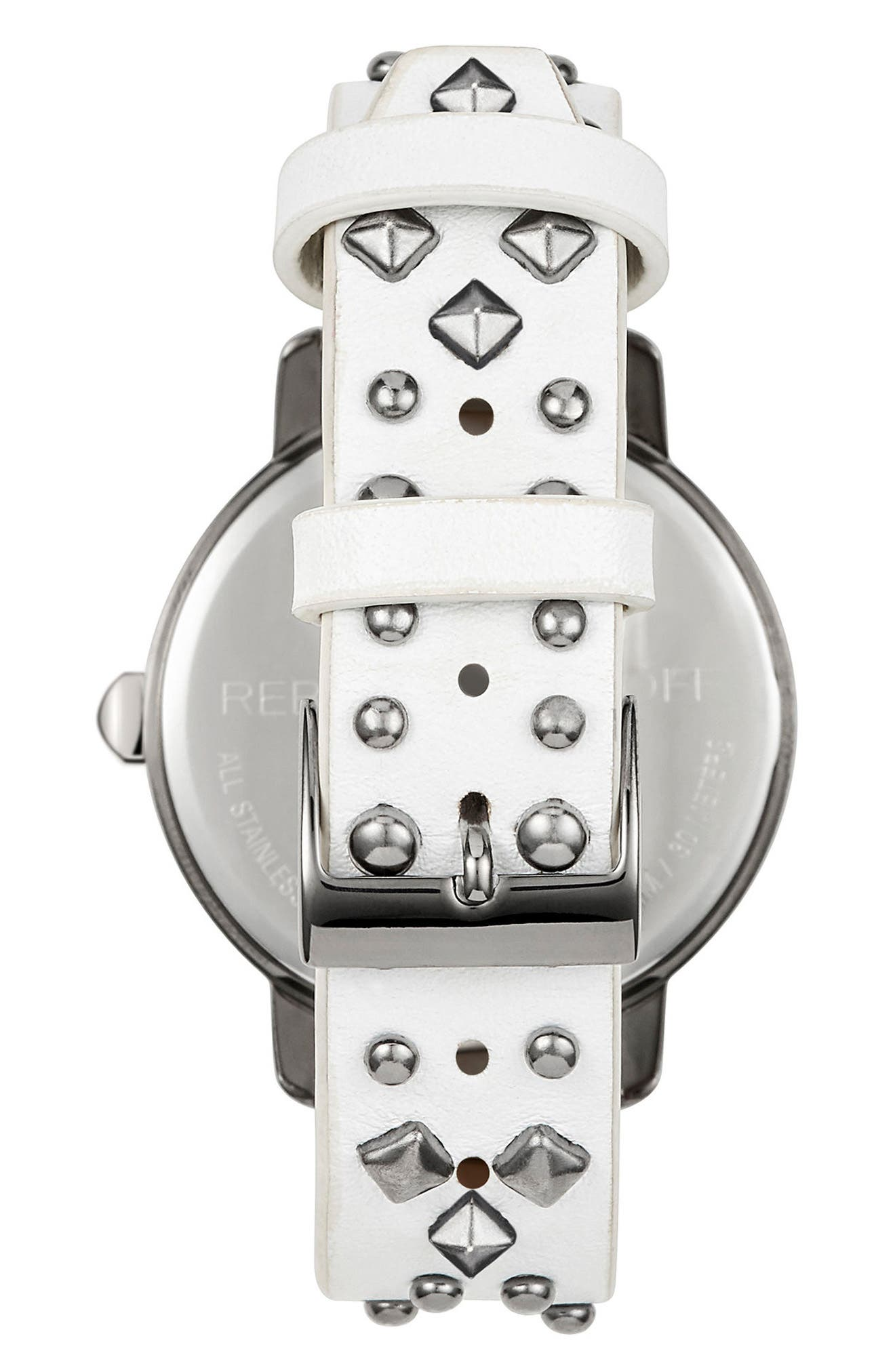 BFFL Studded Leather Strap Watch, 36mm,                             Alternate thumbnail 9, color,