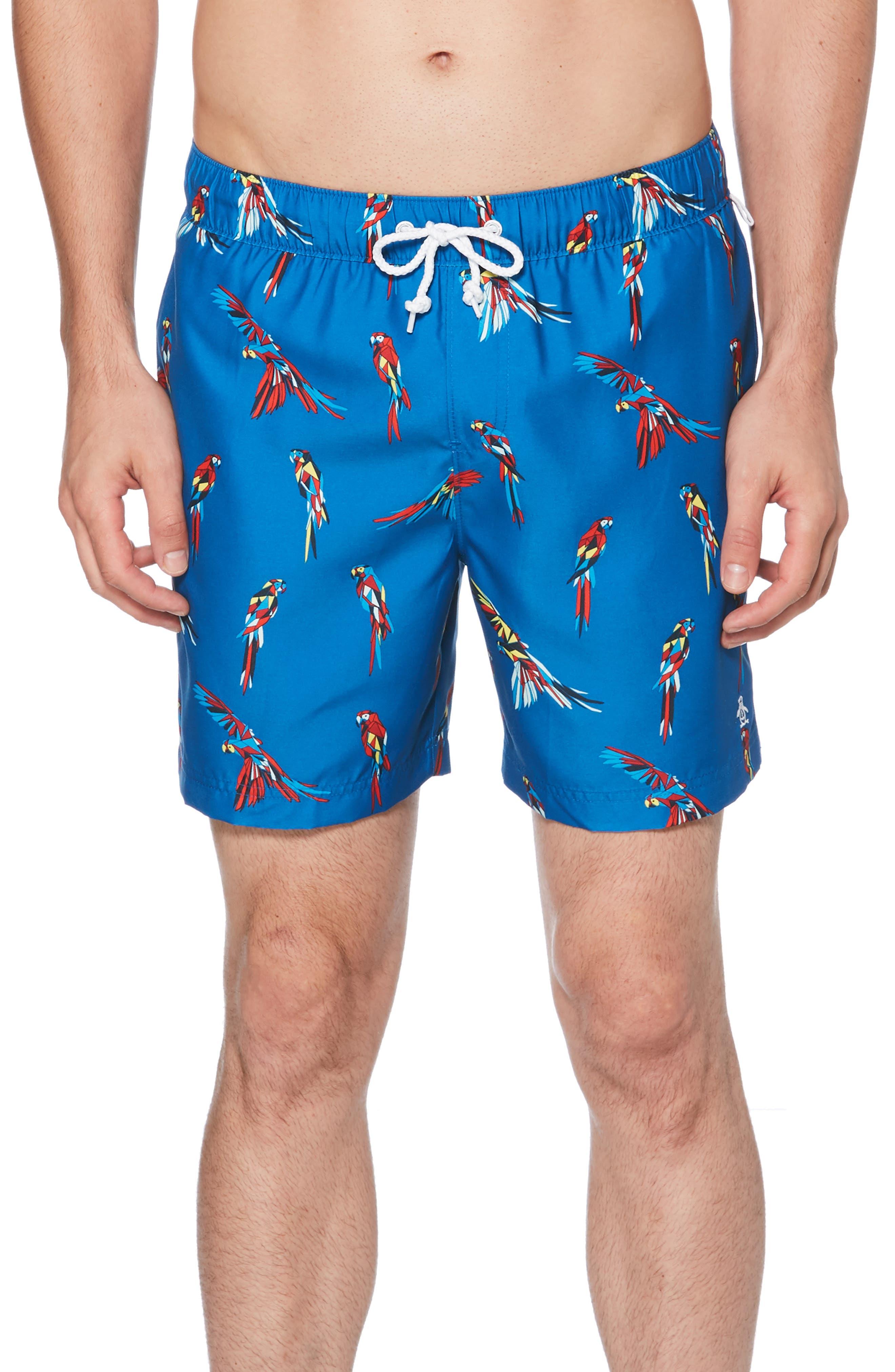 Original Penguin Parrot Swim Trunks, Blue