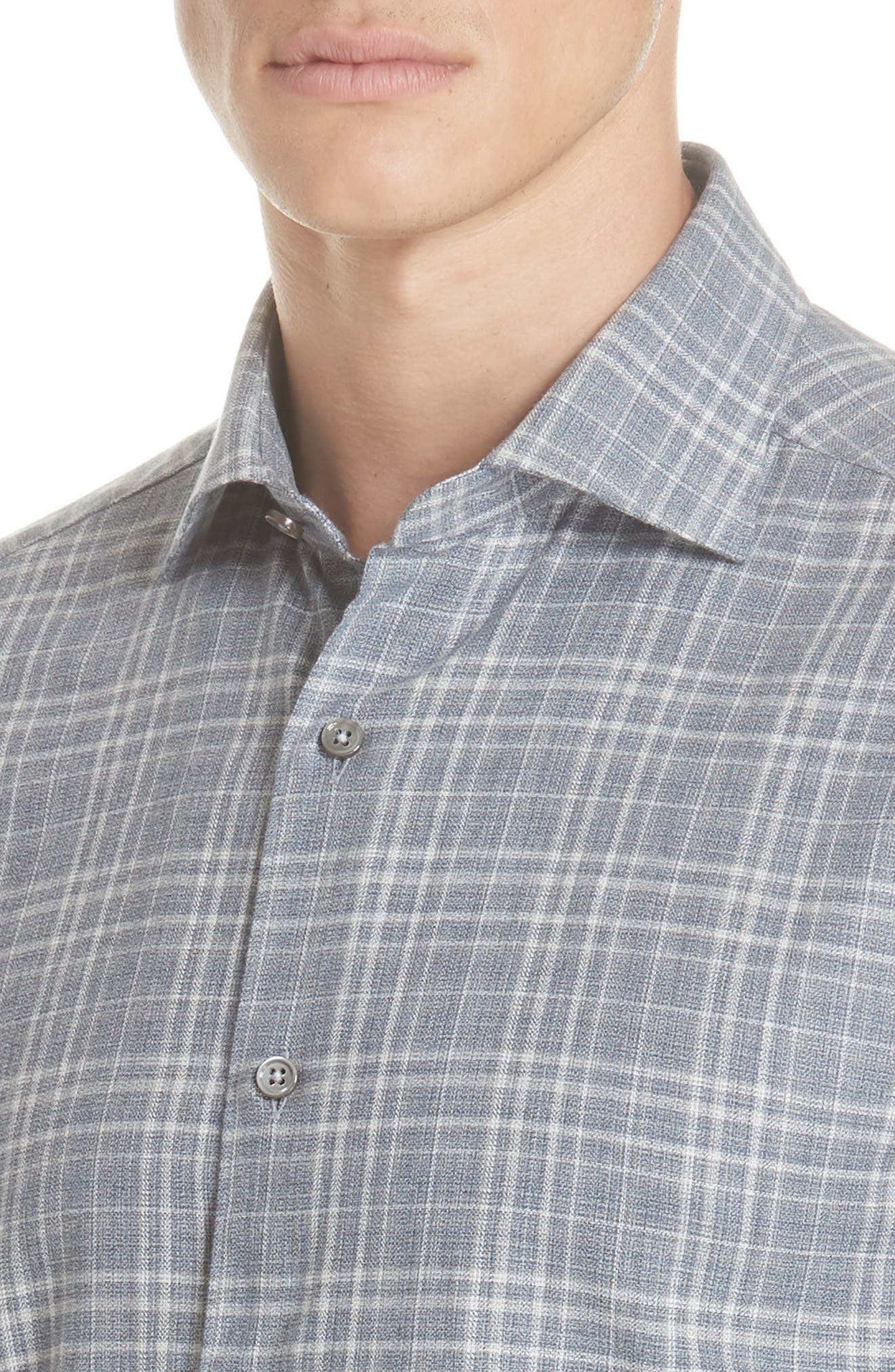 Classic Fit Plaid Sport Shirt,                             Alternate thumbnail 2, color,                             BLUE