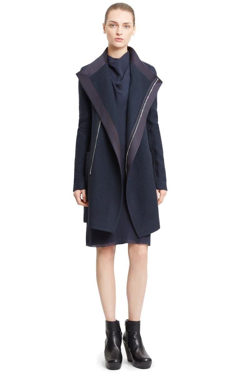 c7c851b2180f1 Rick Owens Funnel Neck Wool Coat