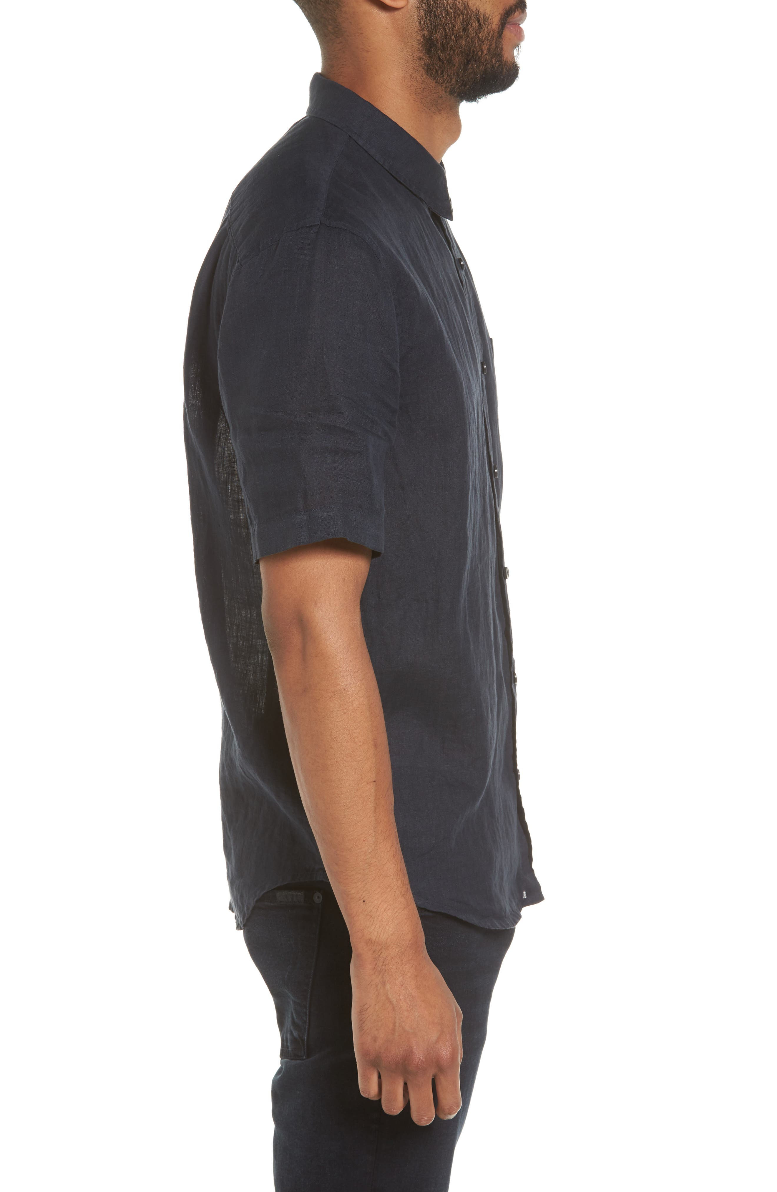 Trim Fit Linen Sport Shirt,                             Alternate thumbnail 3, color,                             403