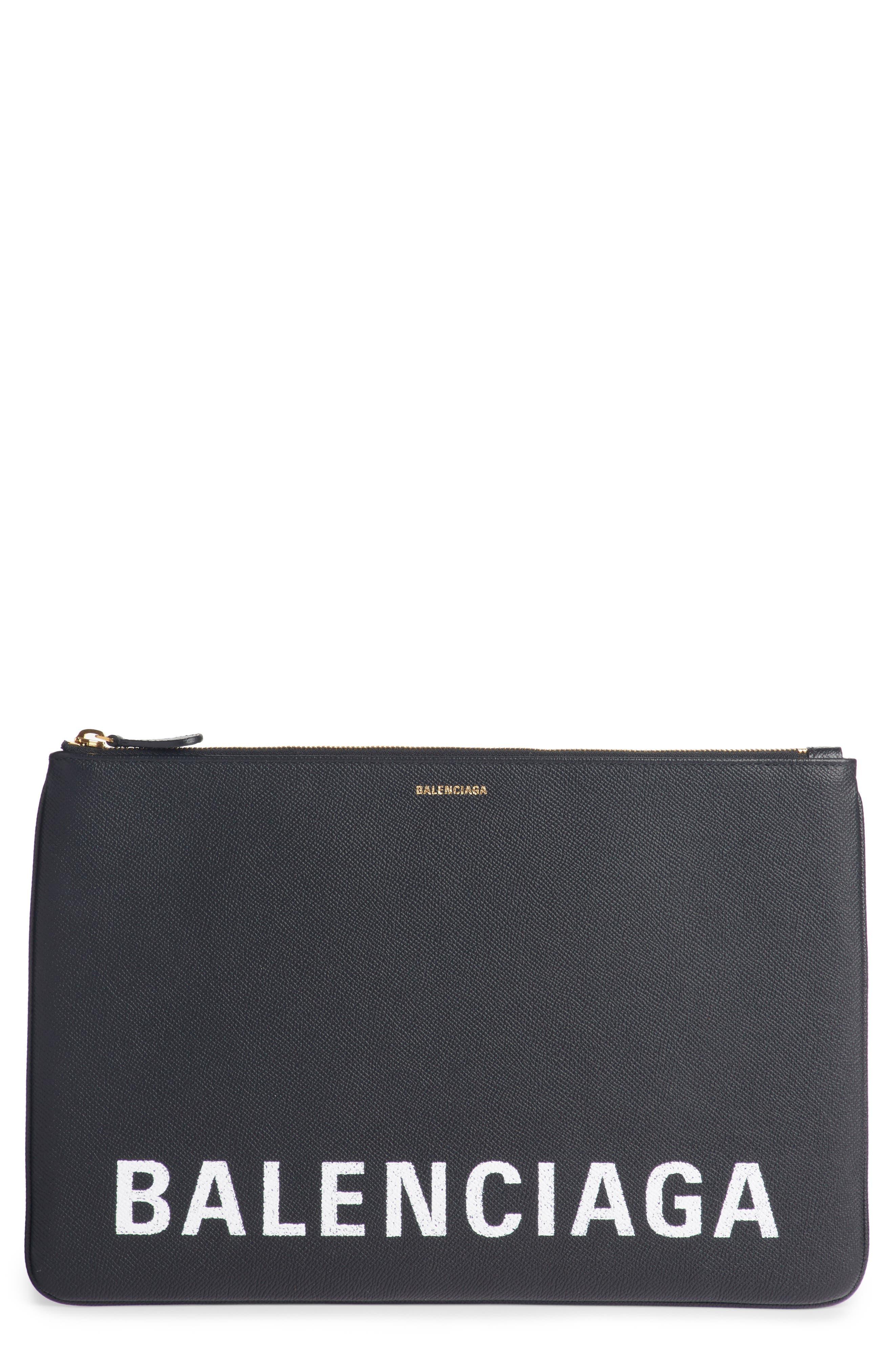 BALENCIAGA,                             Ville Logo Calfskin Leather Pouch,                             Main thumbnail 1, color,                             NOIR/ BLANC