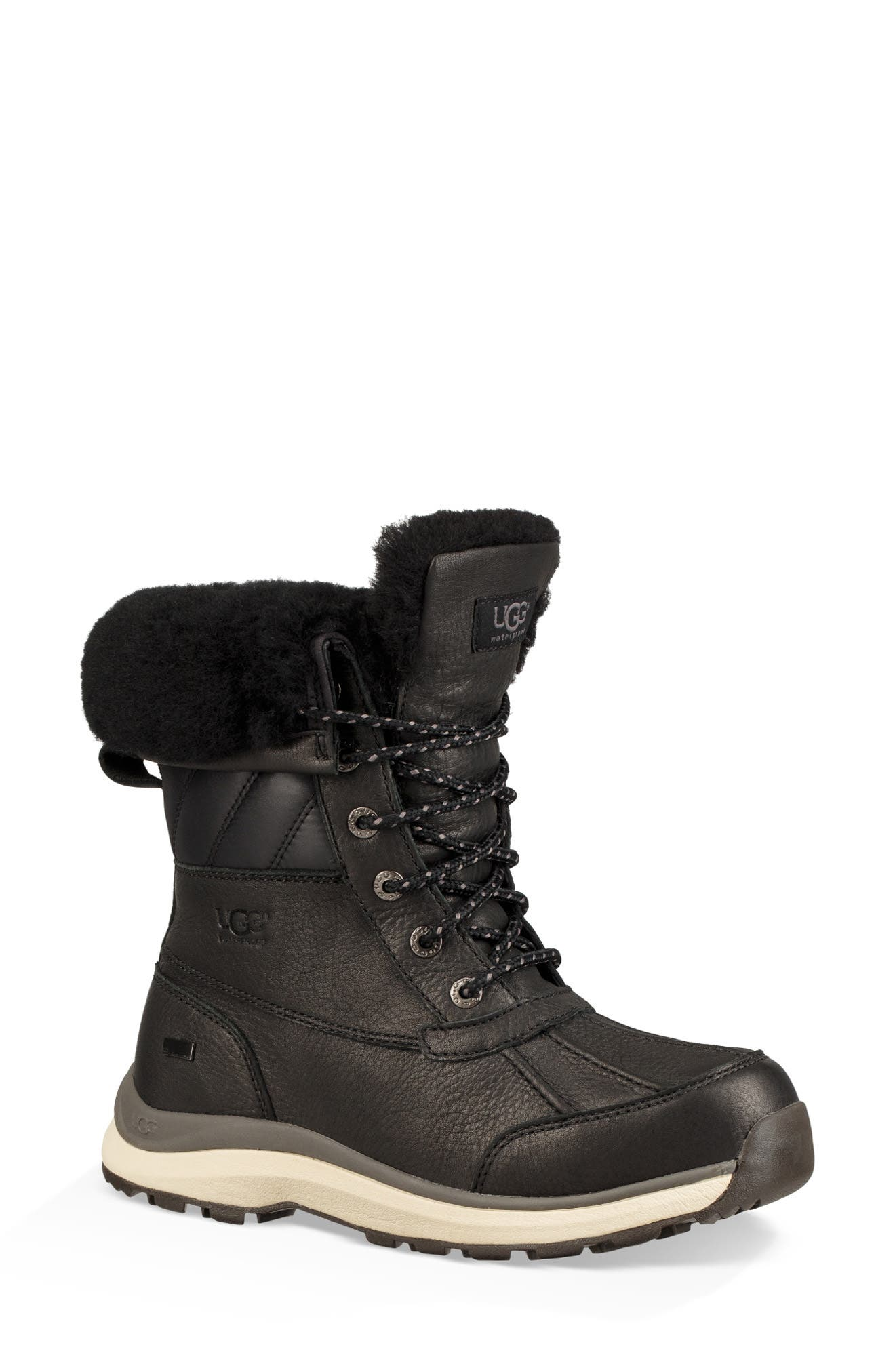 Adirondack III Waterproof Insulated Winter Bootie,                             Main thumbnail 1, color,                             BLACK LEATHER