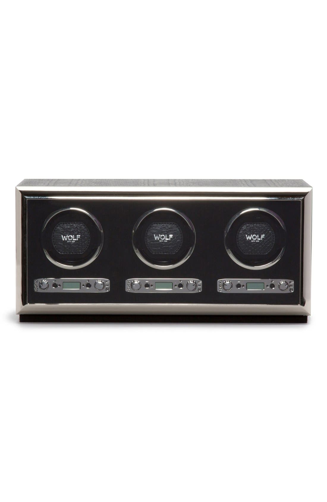 Exotic Triple Watch Winder,                             Main thumbnail 1, color,                             BLACK